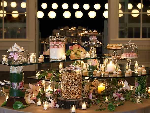 dessert station on glass display