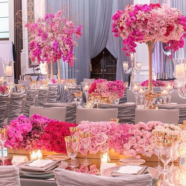 lush floral displays at a wedding