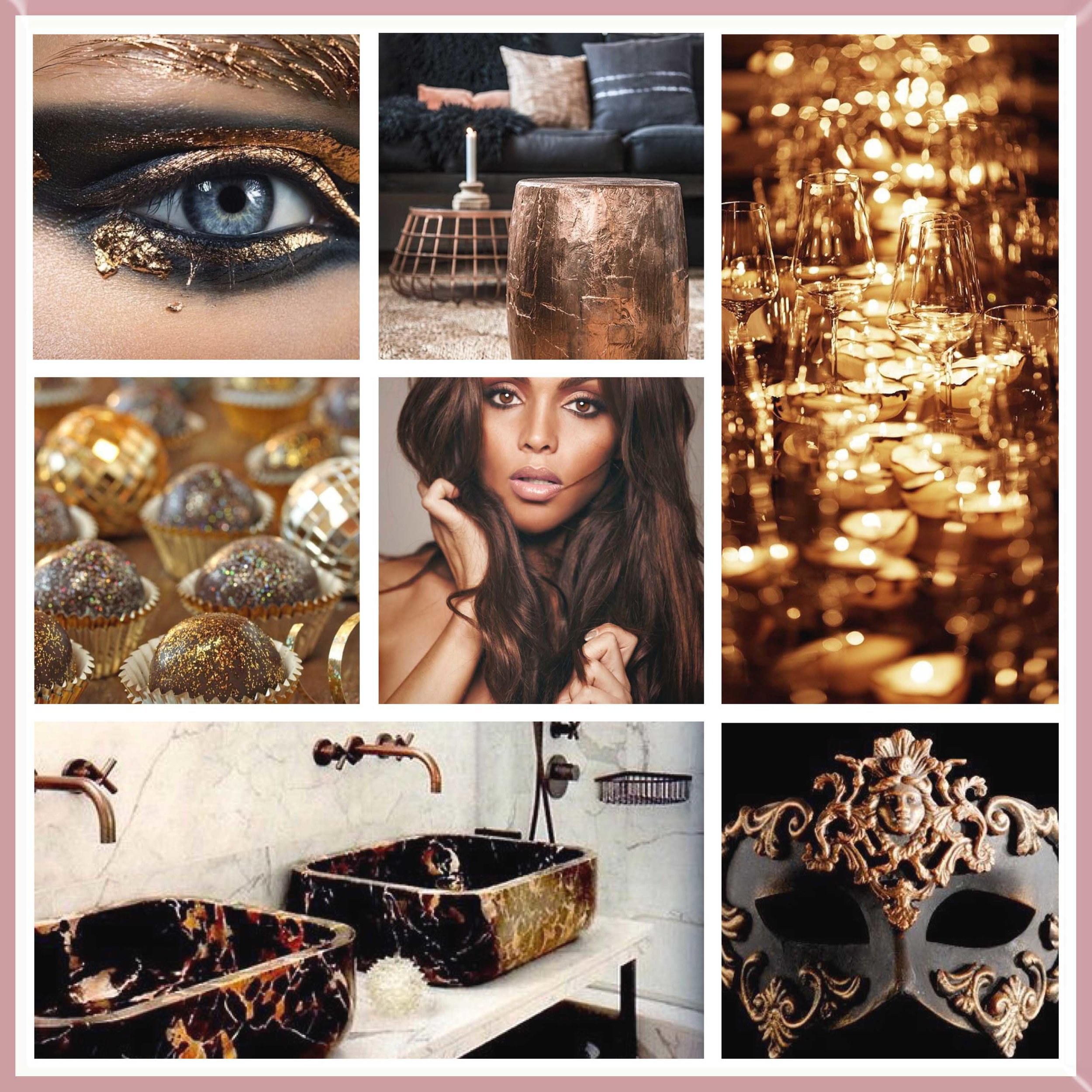 Black & Rose Gold mood board designed by Luxe by Minihaha.