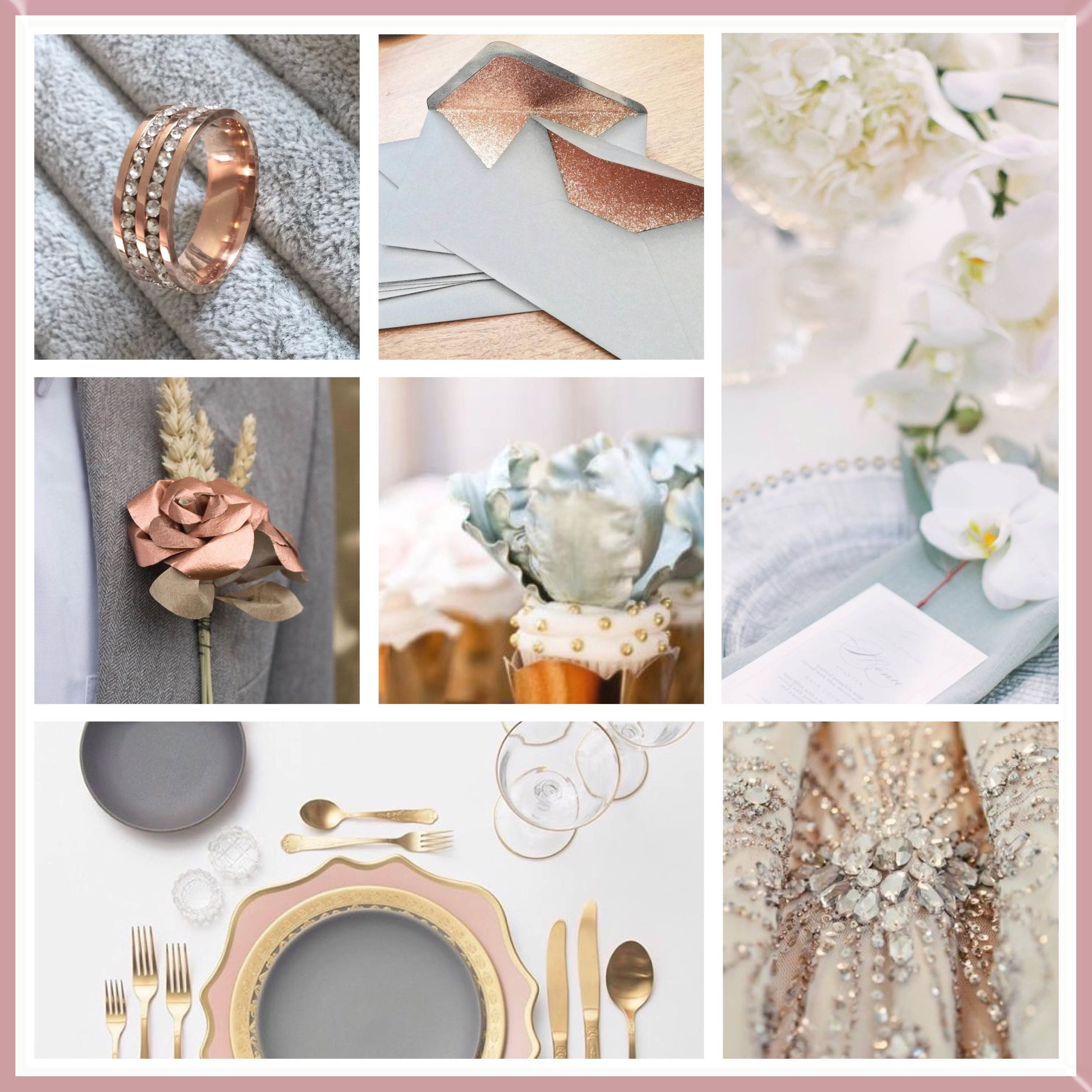 Grey and Rose Gold wedding moodboard
