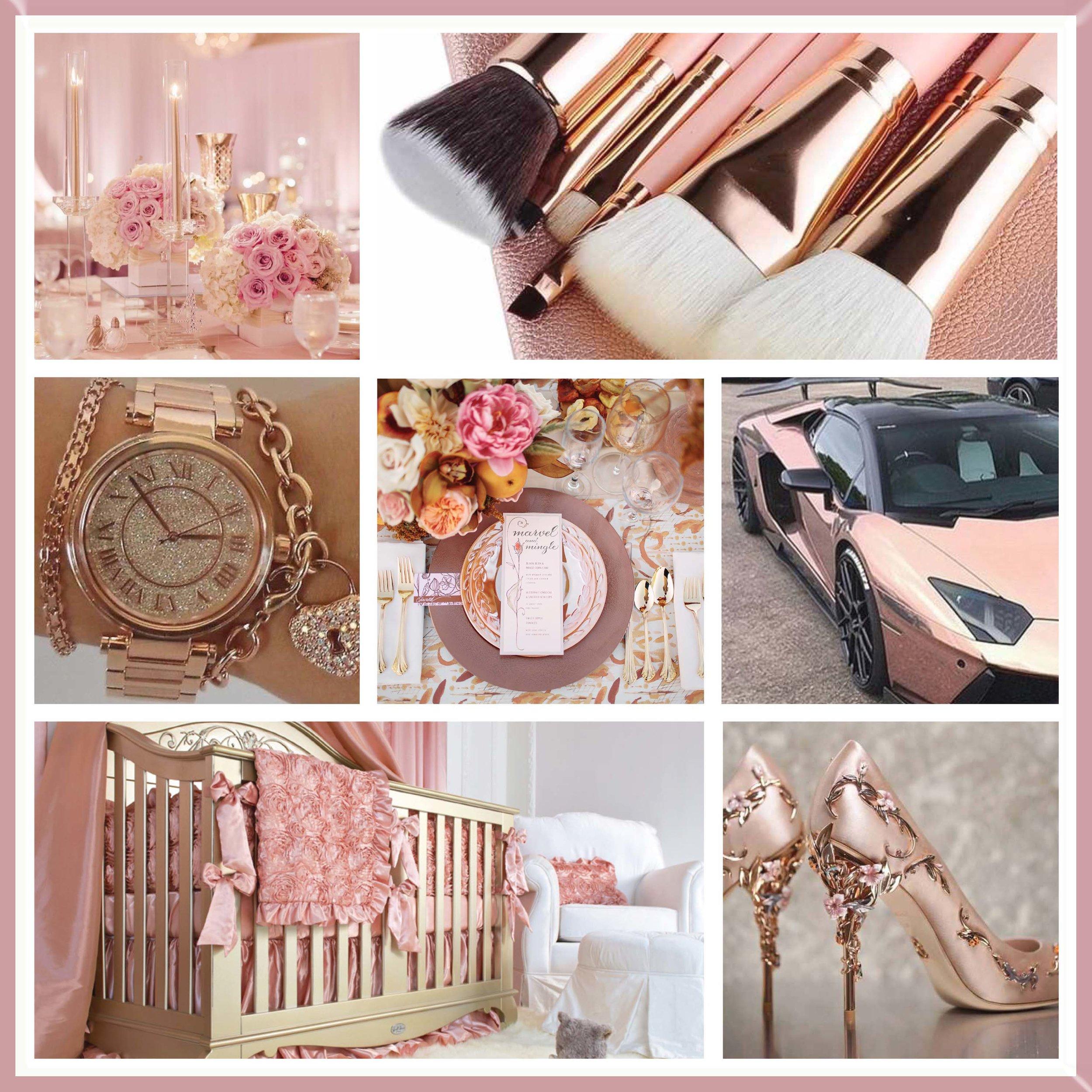 Peach & Rose Gold wedding moodboard