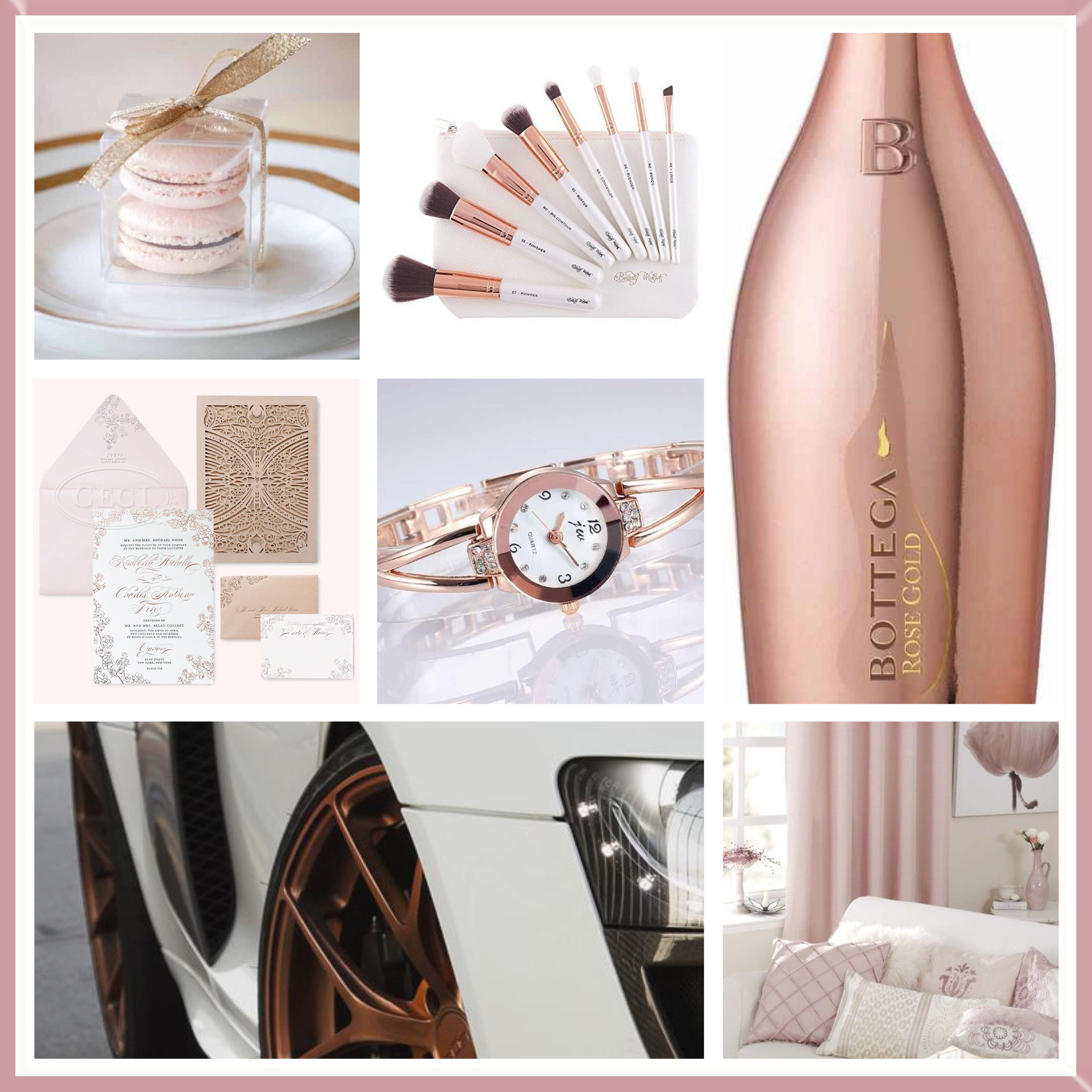 White & Rose Gold moodboard