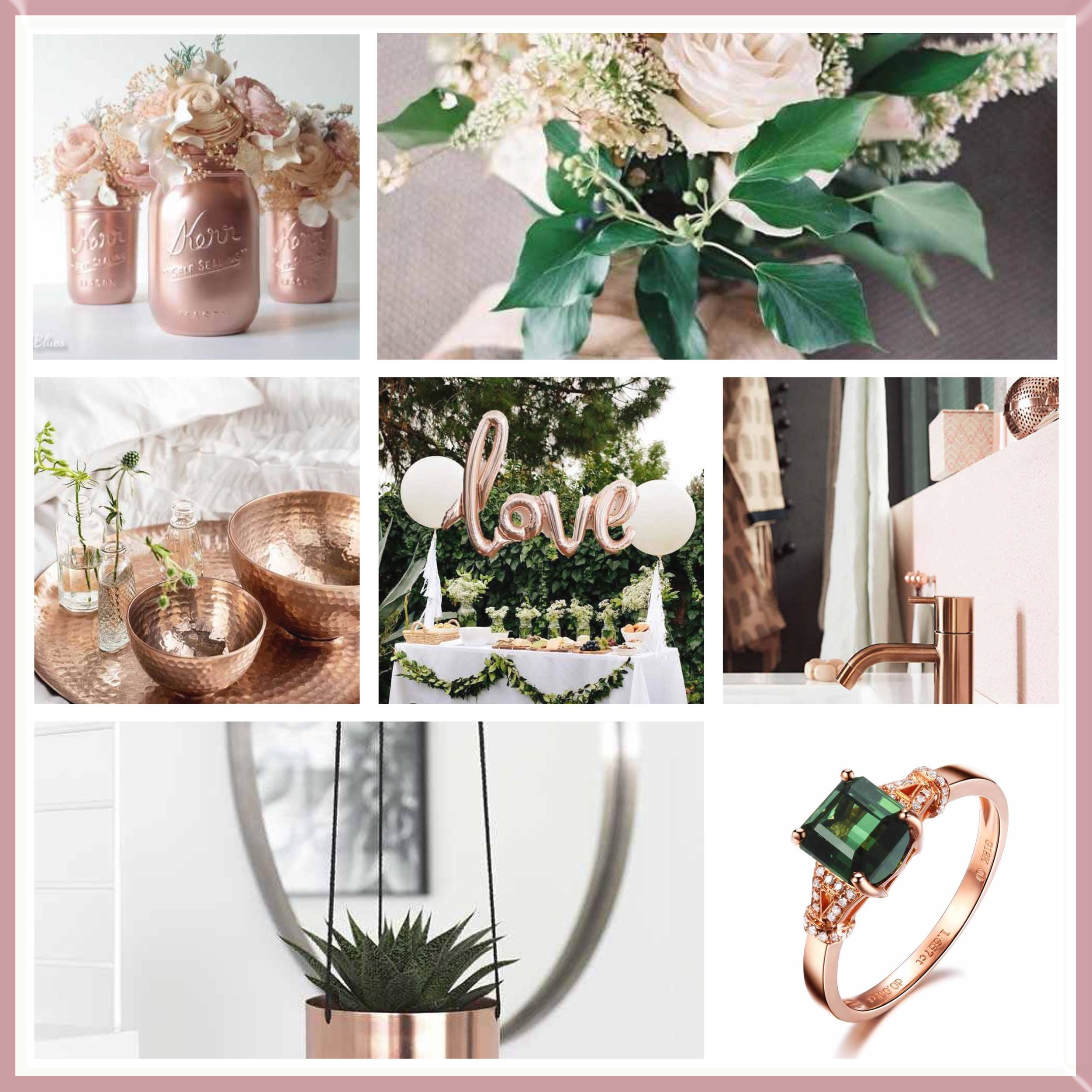 Emerald & Rose Gold Wedding Moodboard designed by Luxe by Minihaha & co..