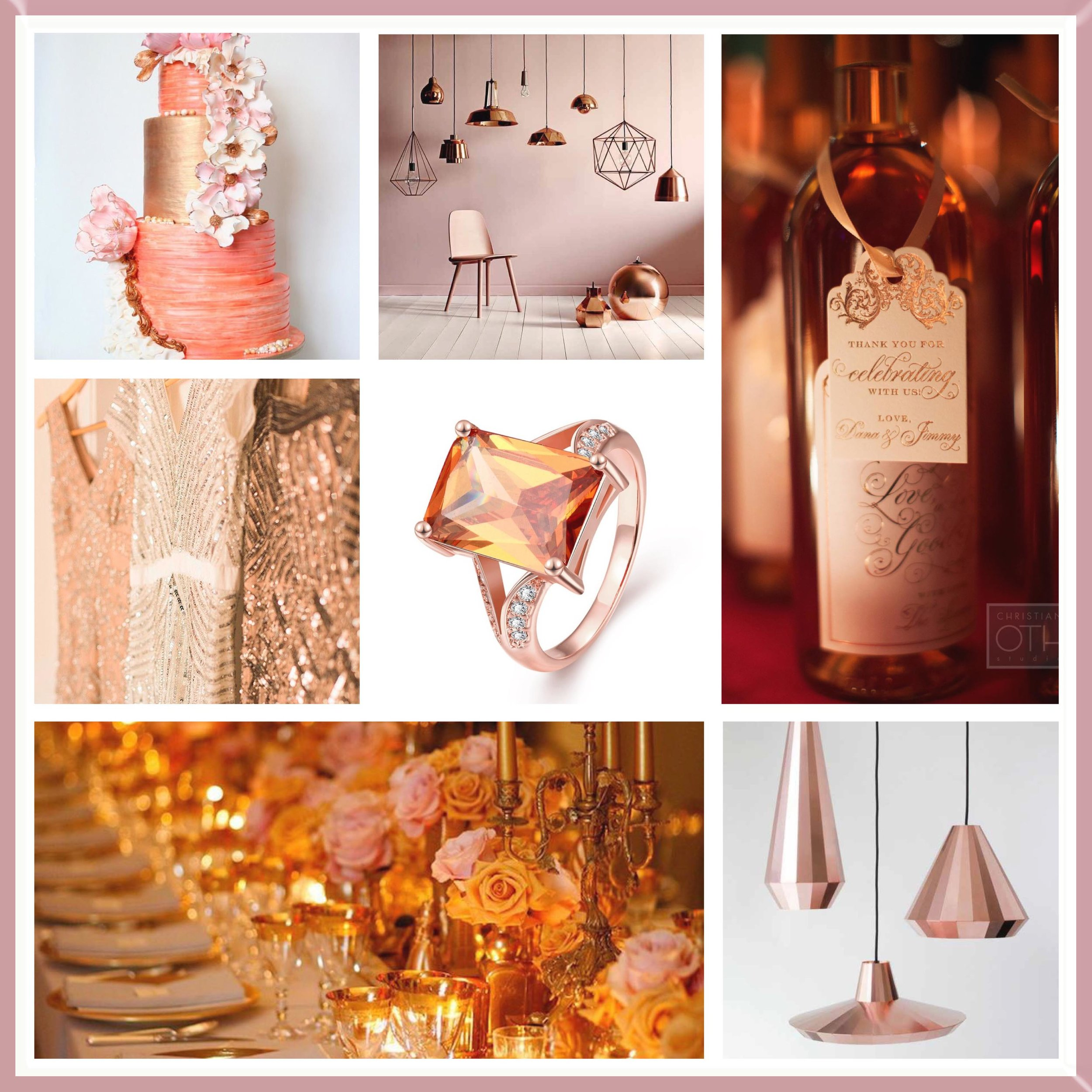Peach and Rose Gold Moodboard.