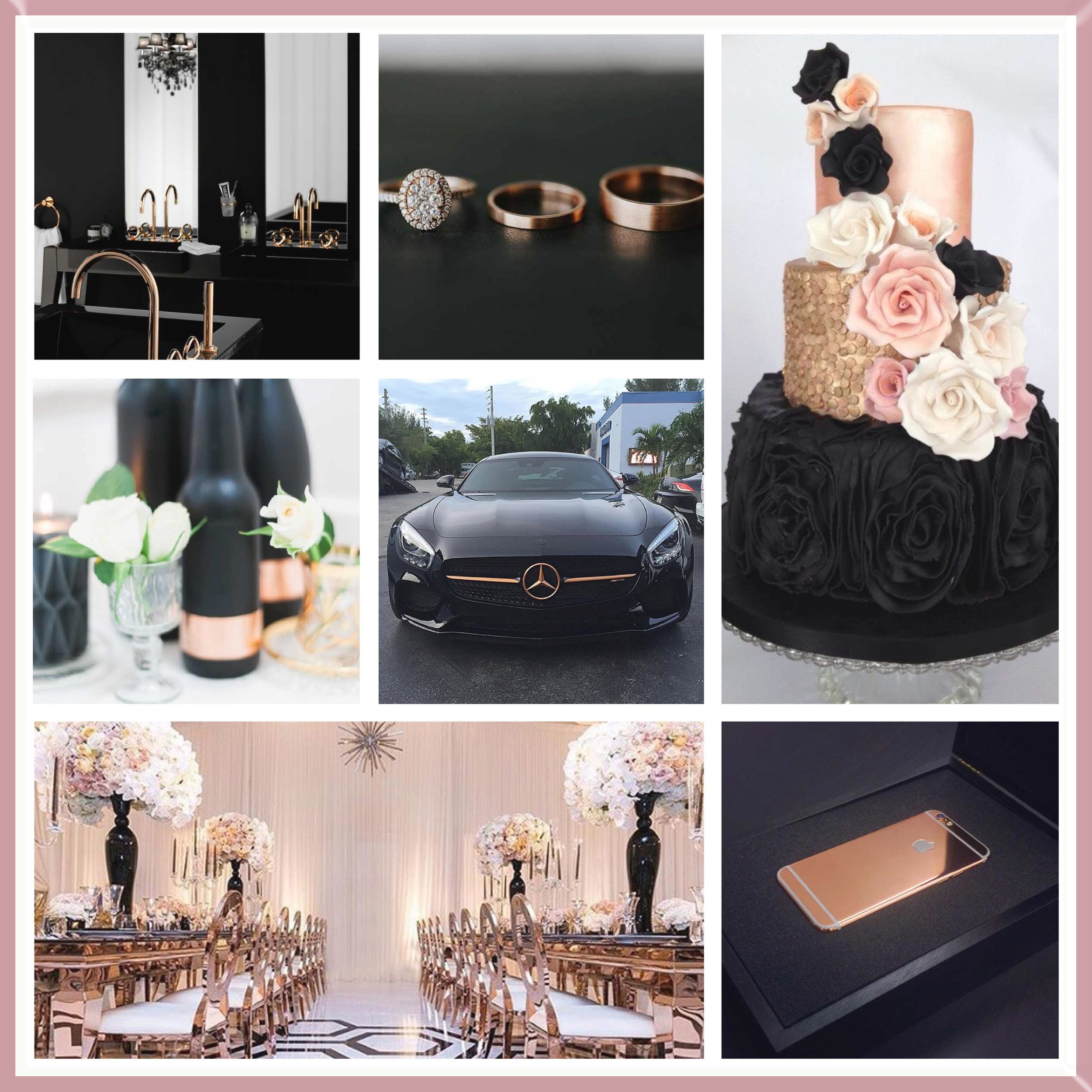 Black and Rose Gold moodboard designed by Luxe by Minihaha & co.