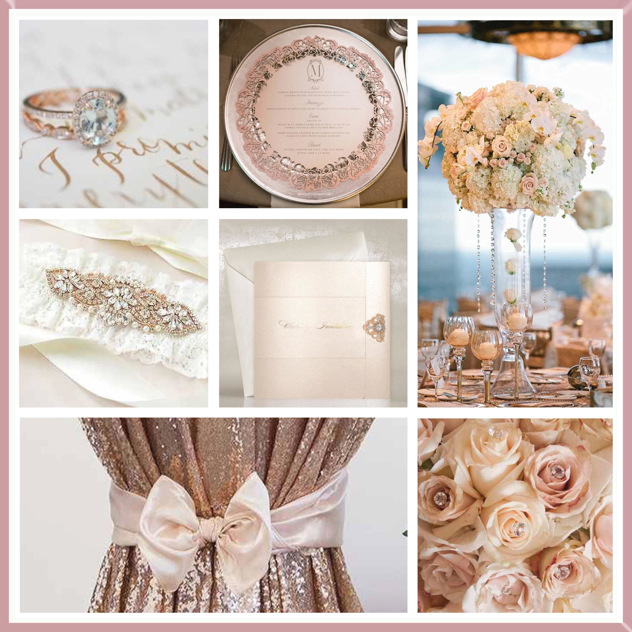 Ivory & Rose Gold wedding mood board designed by Luxe by Minihaha & co.