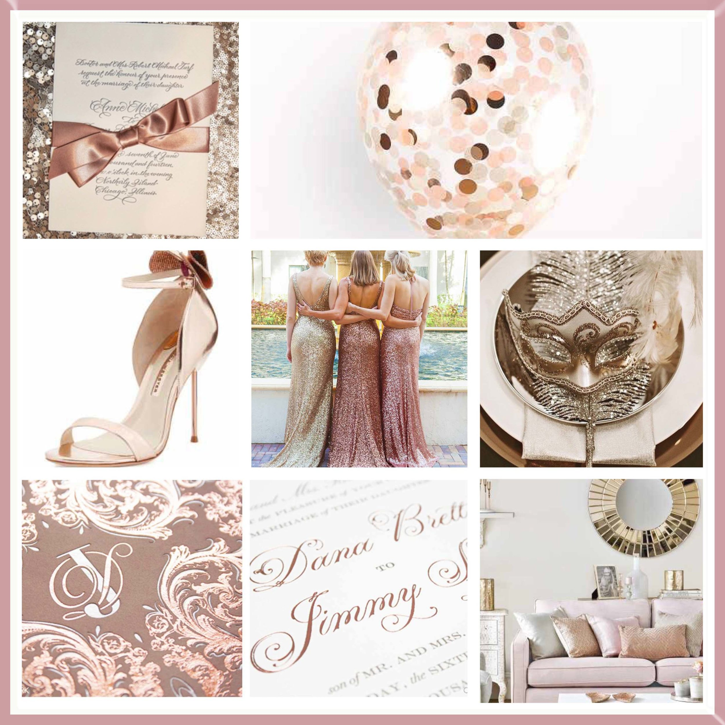 Bronze & Rose Gold wedding mood board designed by Luxe by Minihaha & co.