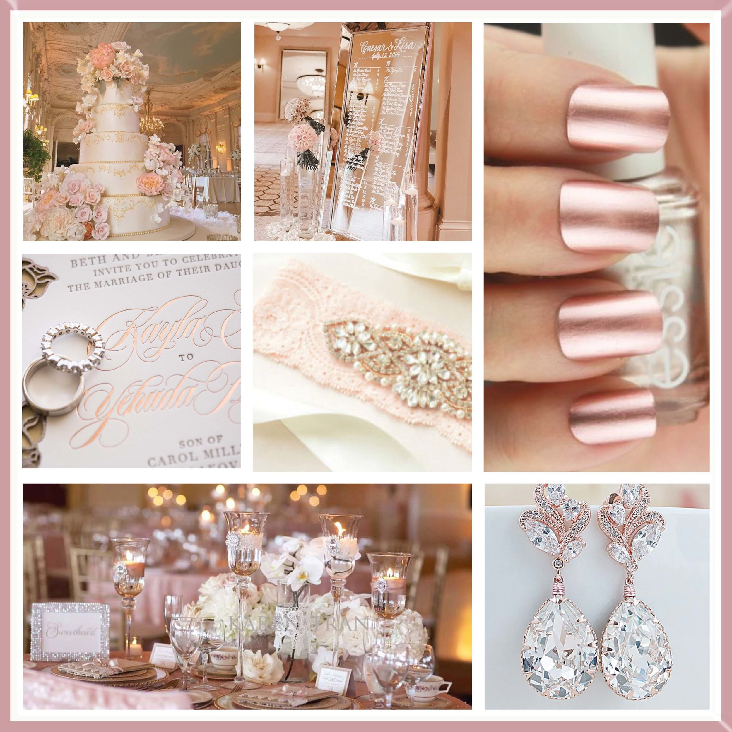 Pink & Rose Gold moodboard designed by Luxe b Minihaha & co.