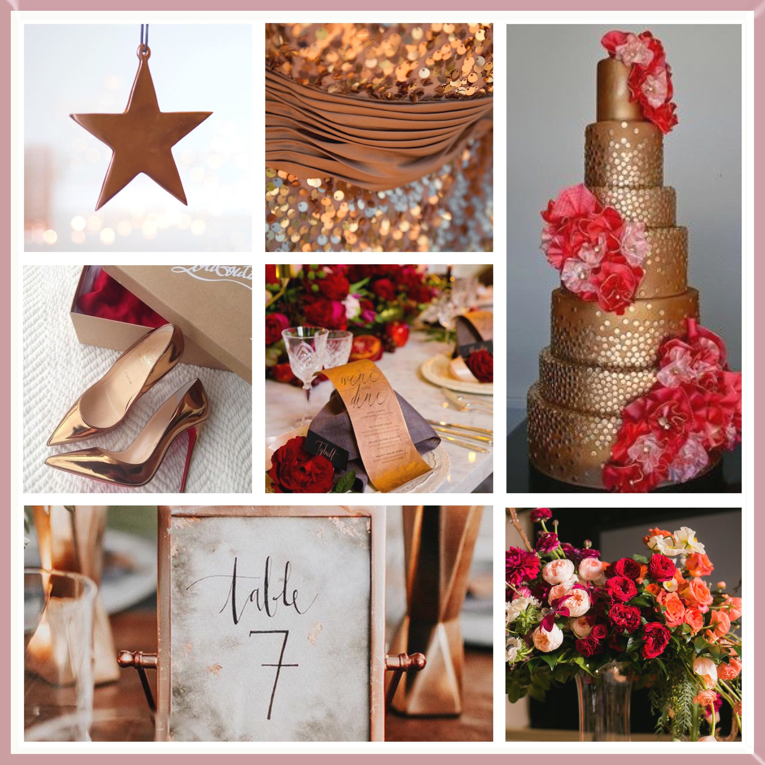 Red and Rose Gold Moodboard designed by Luxe by Minihaha & co.