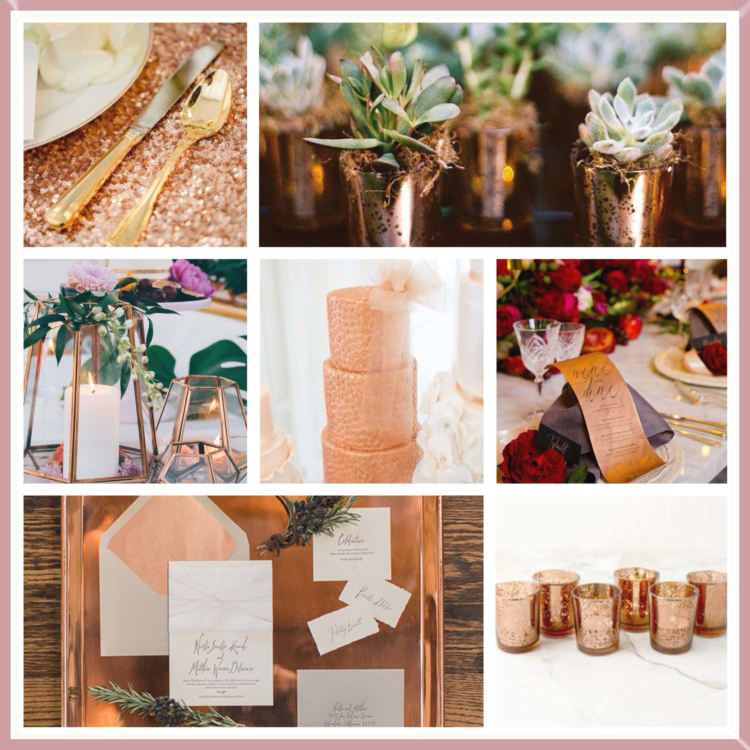 Berry & Rose Gold moodboard designed by Luxe by Minihaha & co.