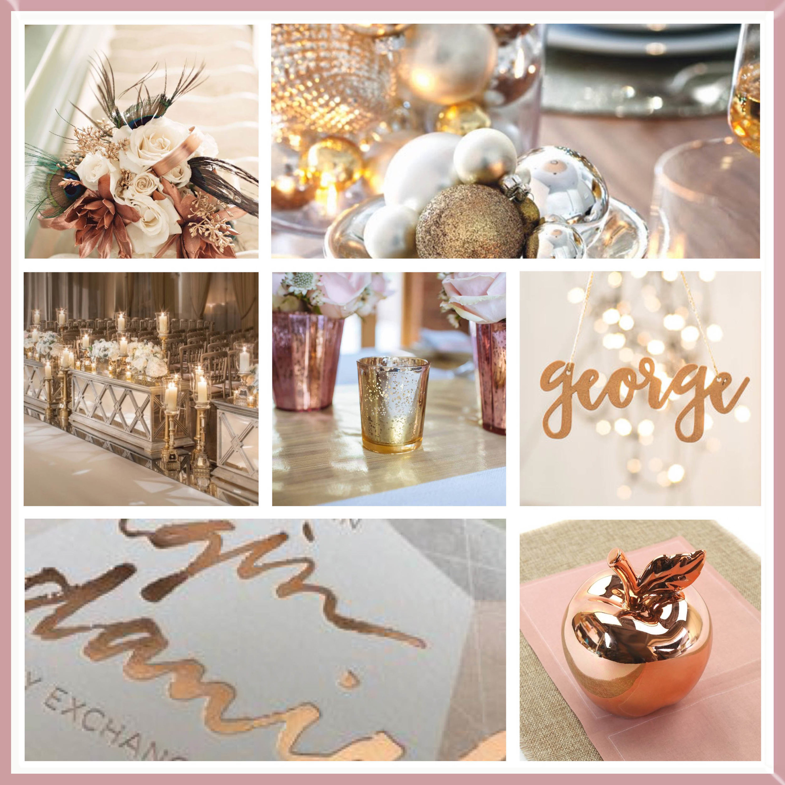 Gold & Rose Gold moodboard designed by Luxe by Minihaha & co.