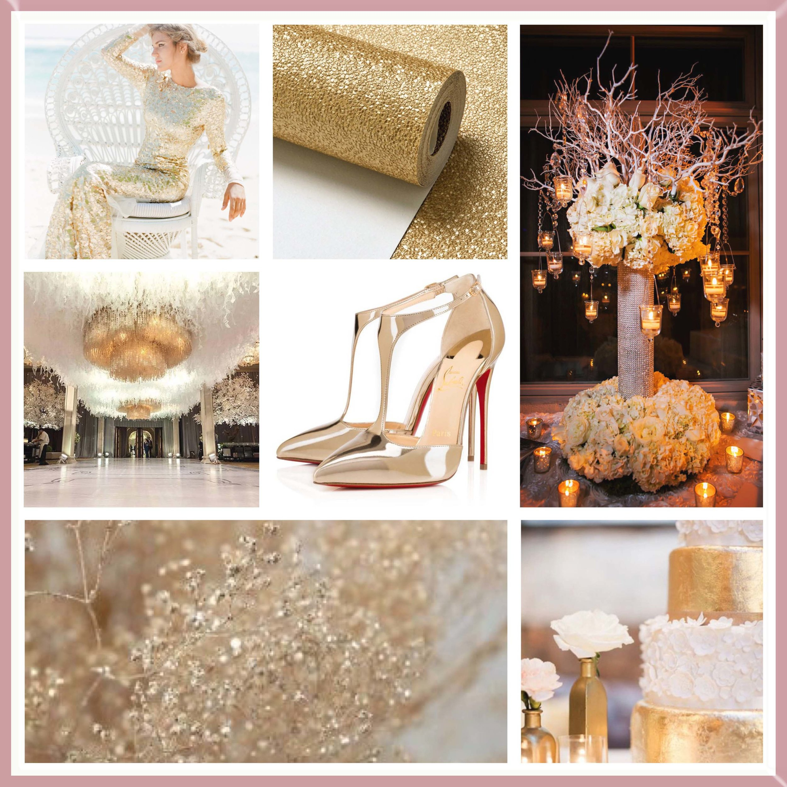 Gold, White & Rose Gold moodboard designed by Luxe by Minihaha & co.