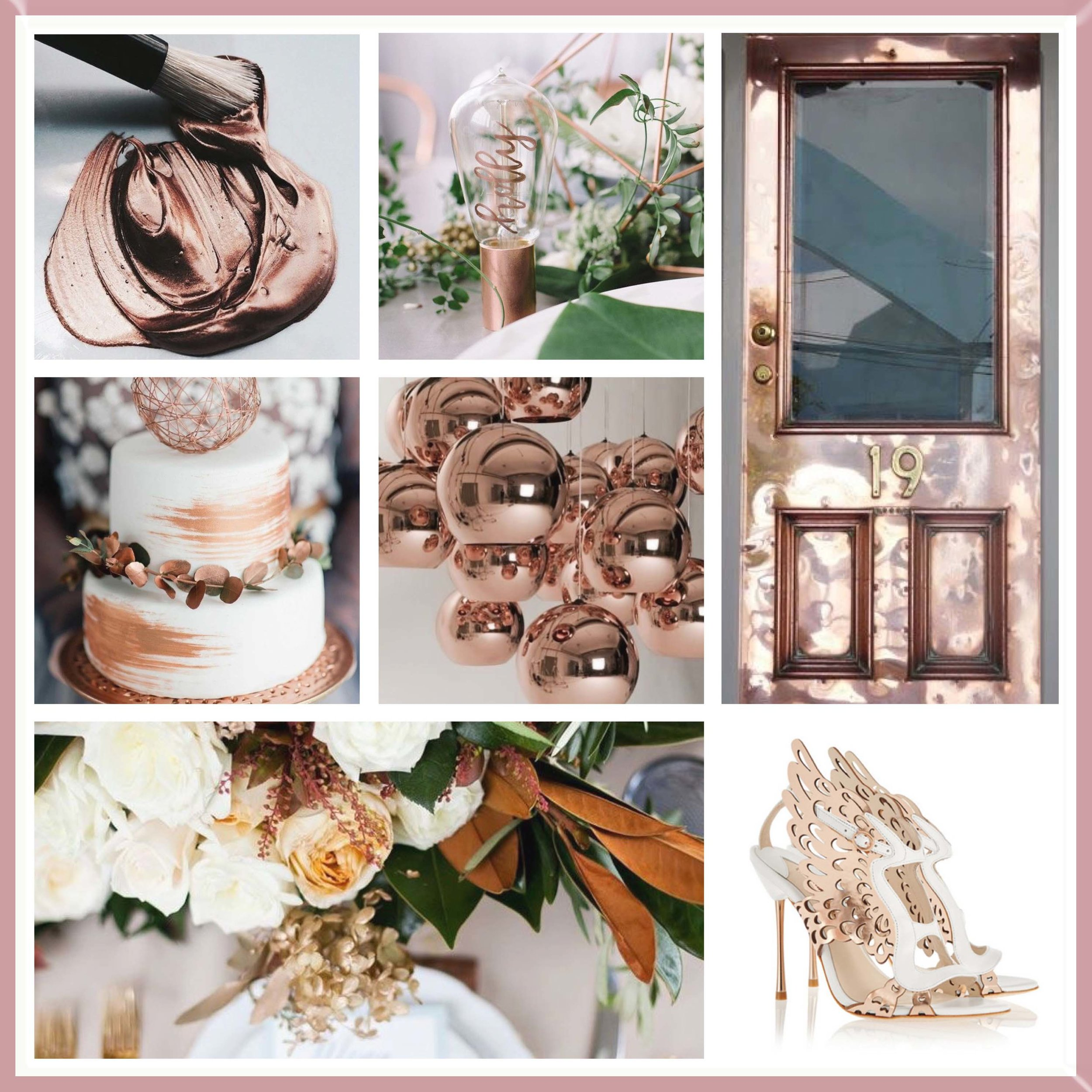 Rose Gold and Bronze moodboard designed by Luxe by Minihaha & co.