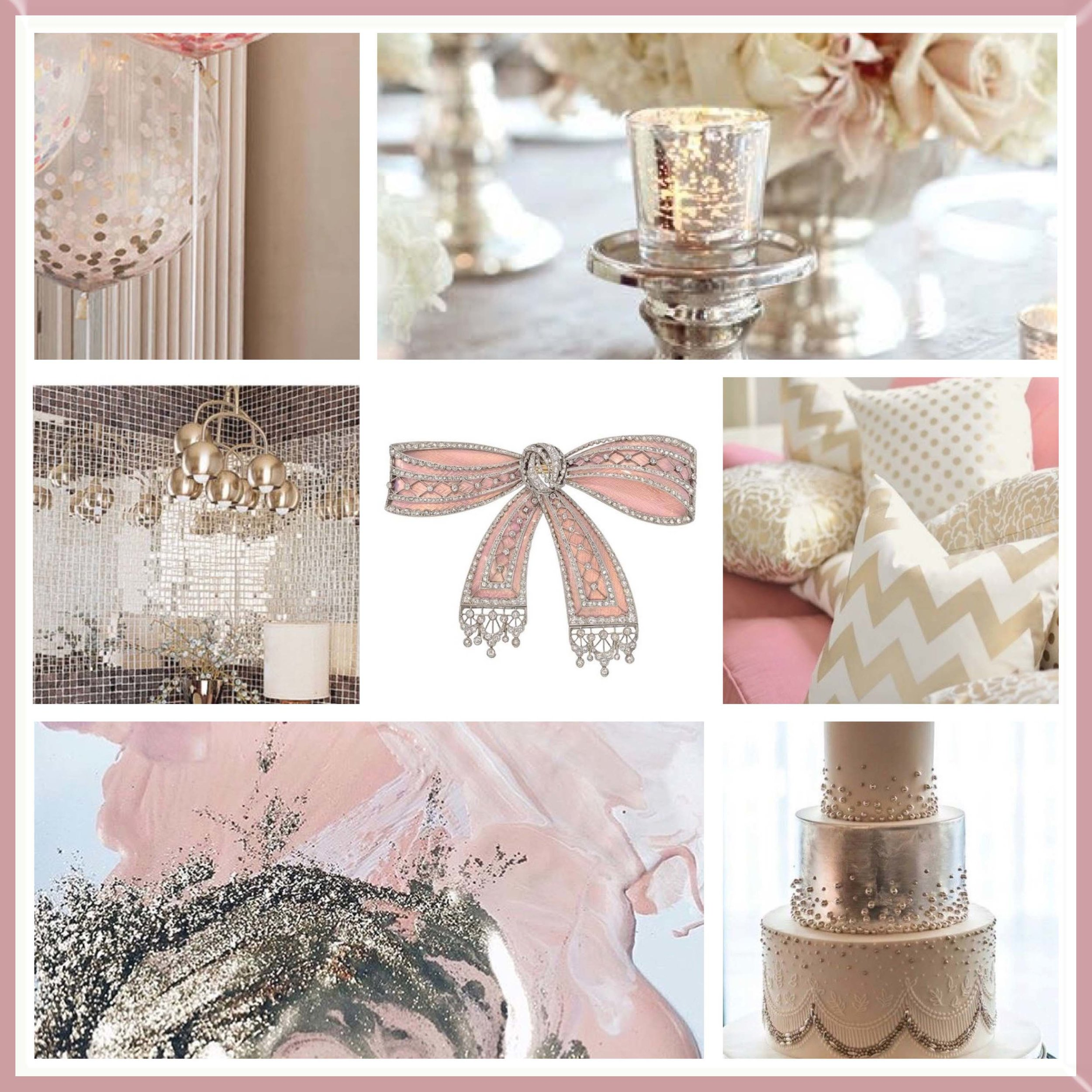 Silver & Rose Gold mood board designed by Luxe by Minihaha & co.