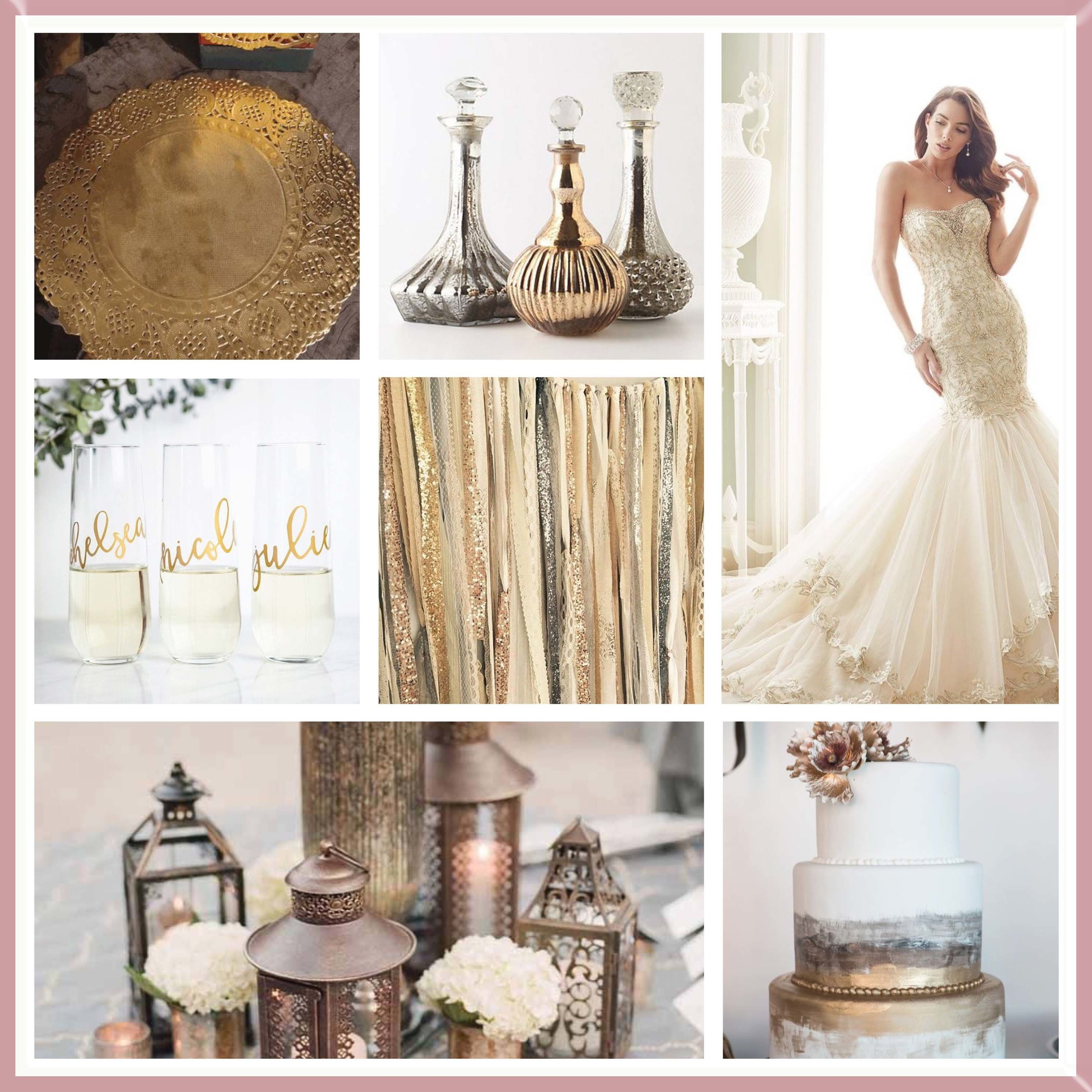 Silver & Gold moodboard designed by Luxe by Minihaha & co.