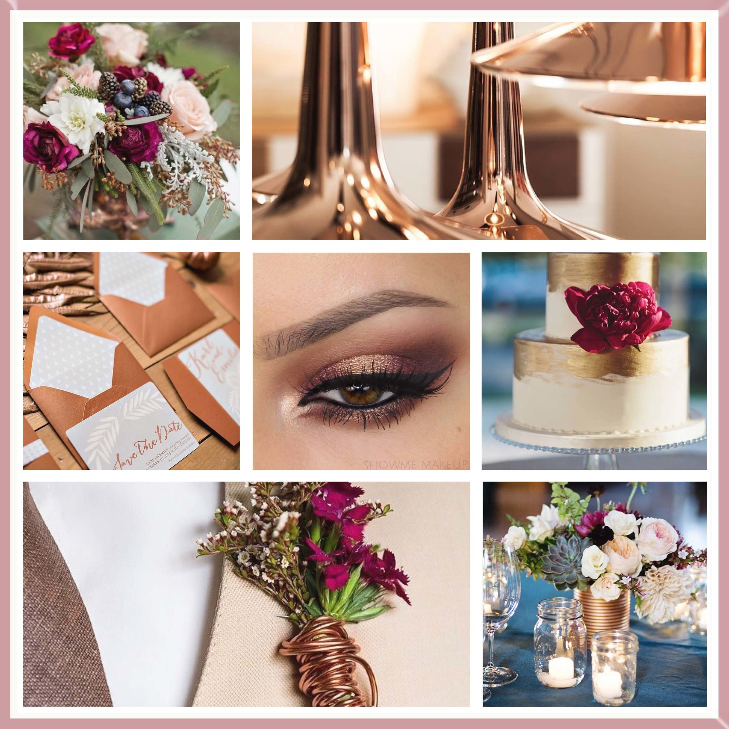 Burgundy and Rose Gold mood board designed by Luxe by Minihaha & co.