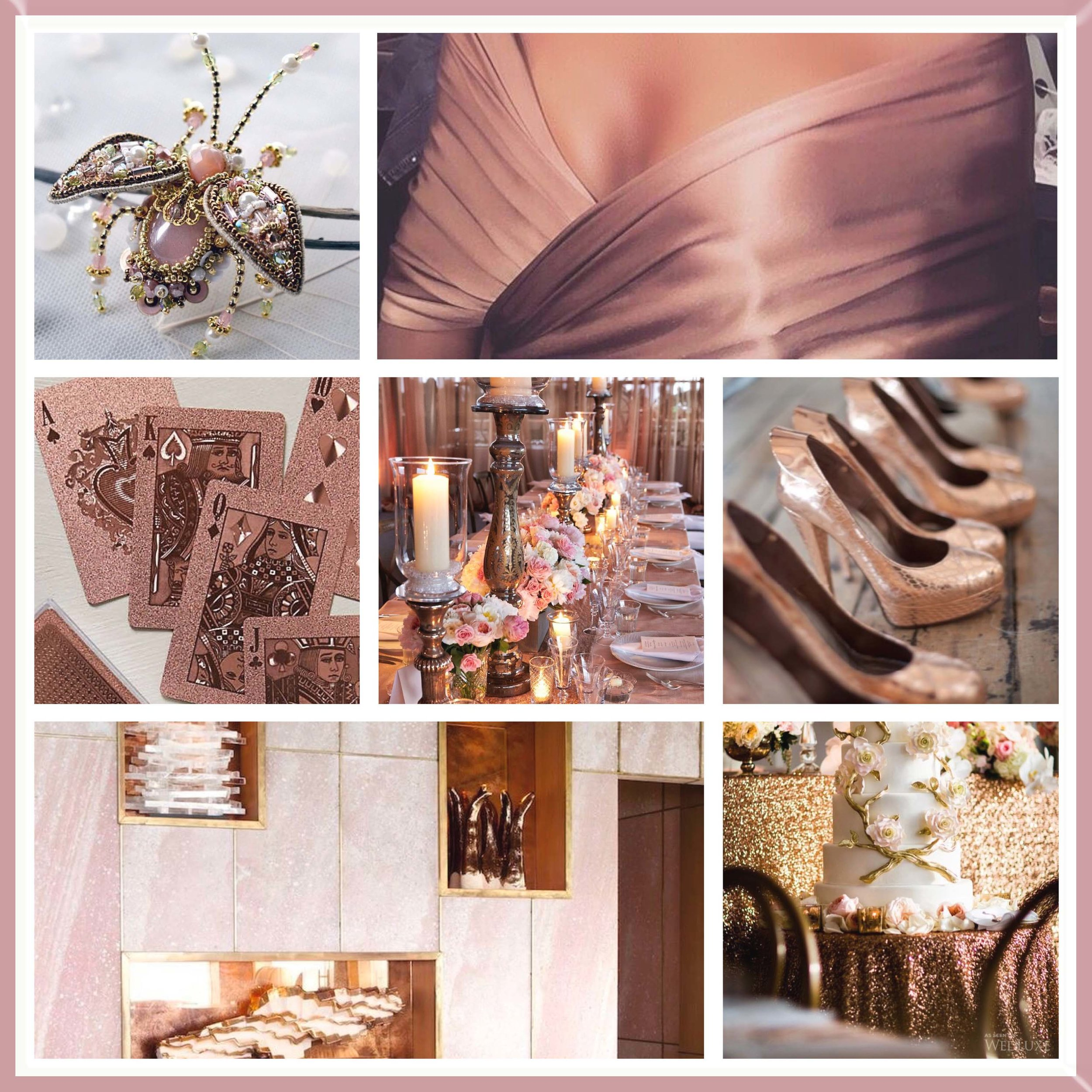 Blush & Rose Gold moodboard designed by Luxe by Minihaha & co.