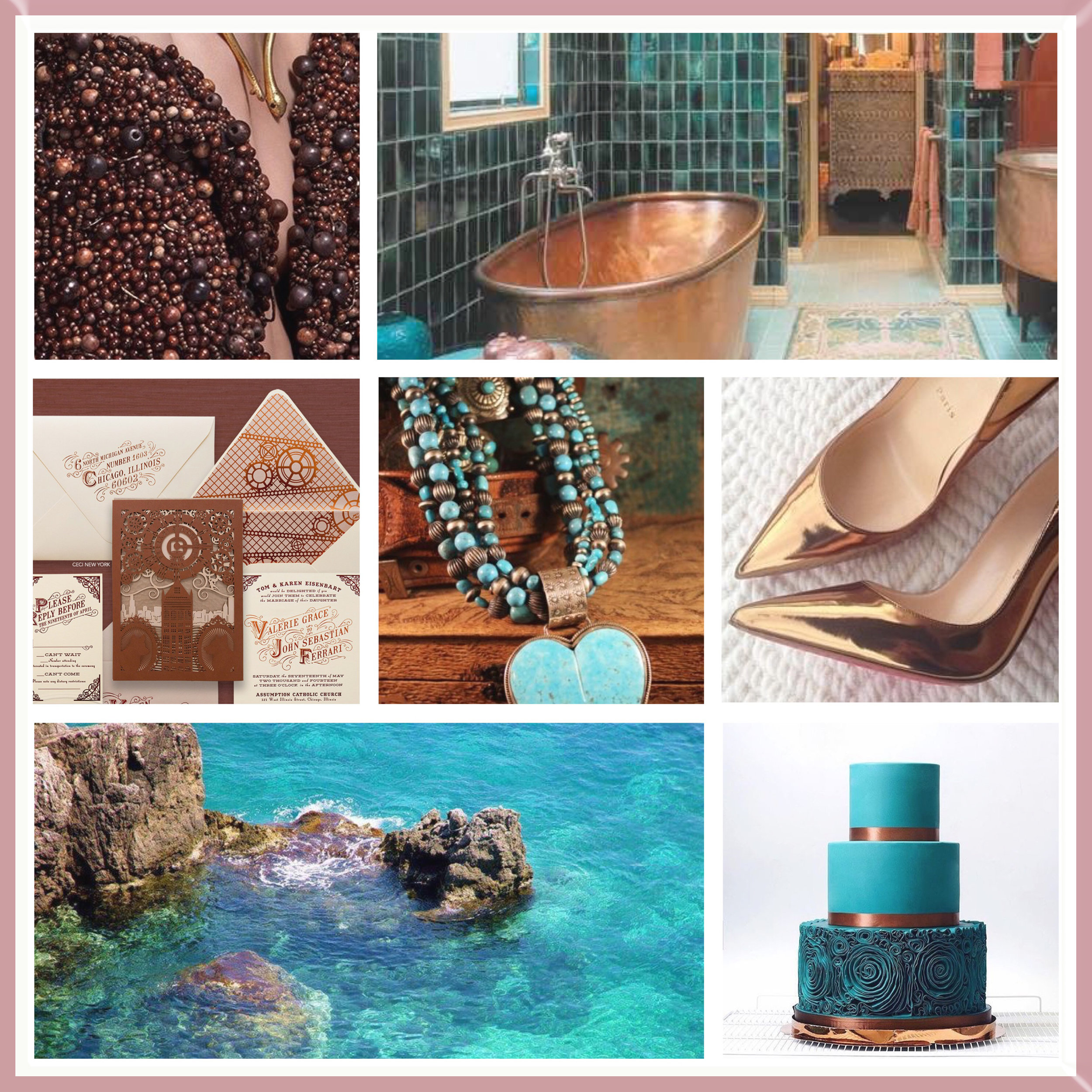 Teal & Rose Gold moodboard designed by Luxe by Minihaha & co.