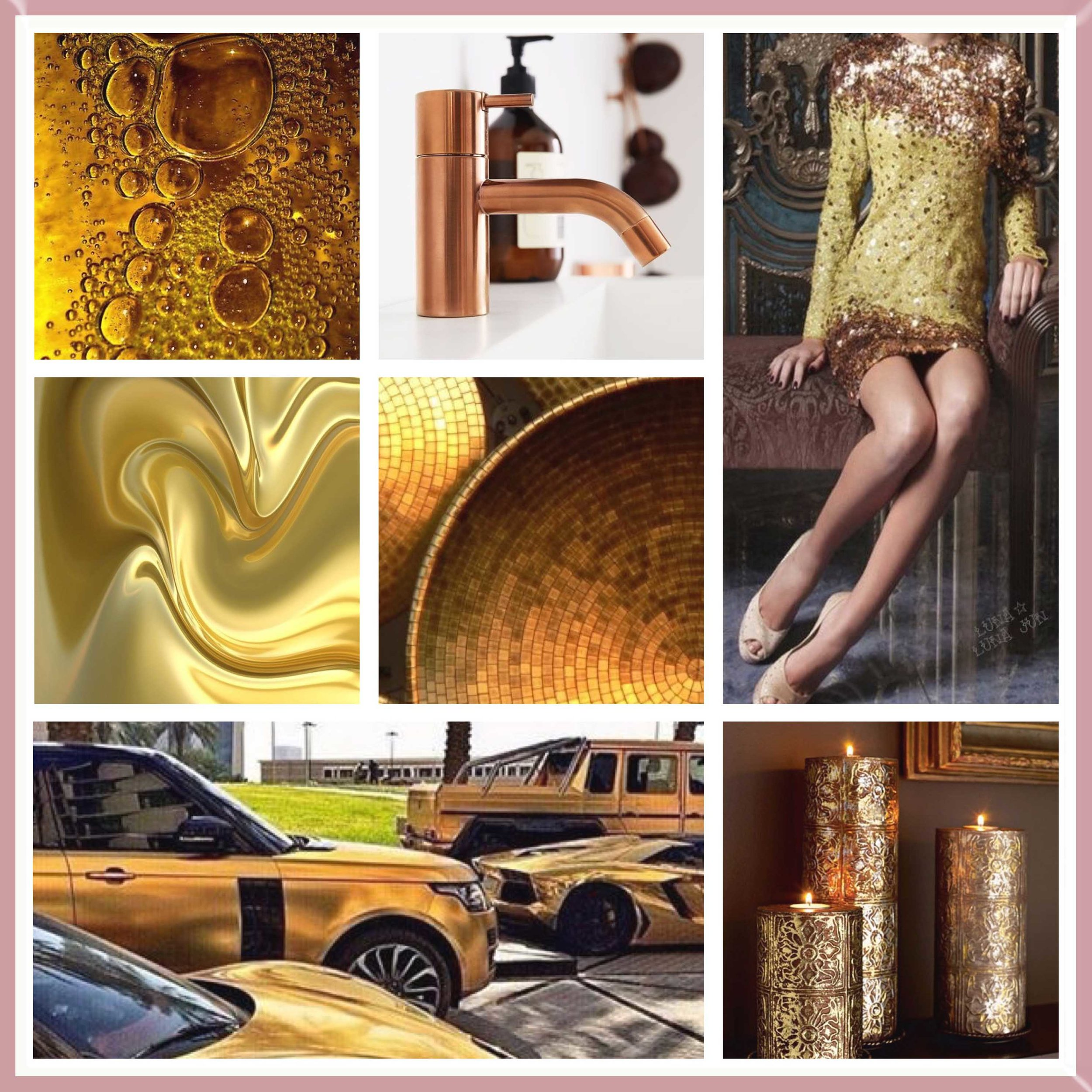 Gold and Bronze moodboard designed by Luxe by Minihaha & co.