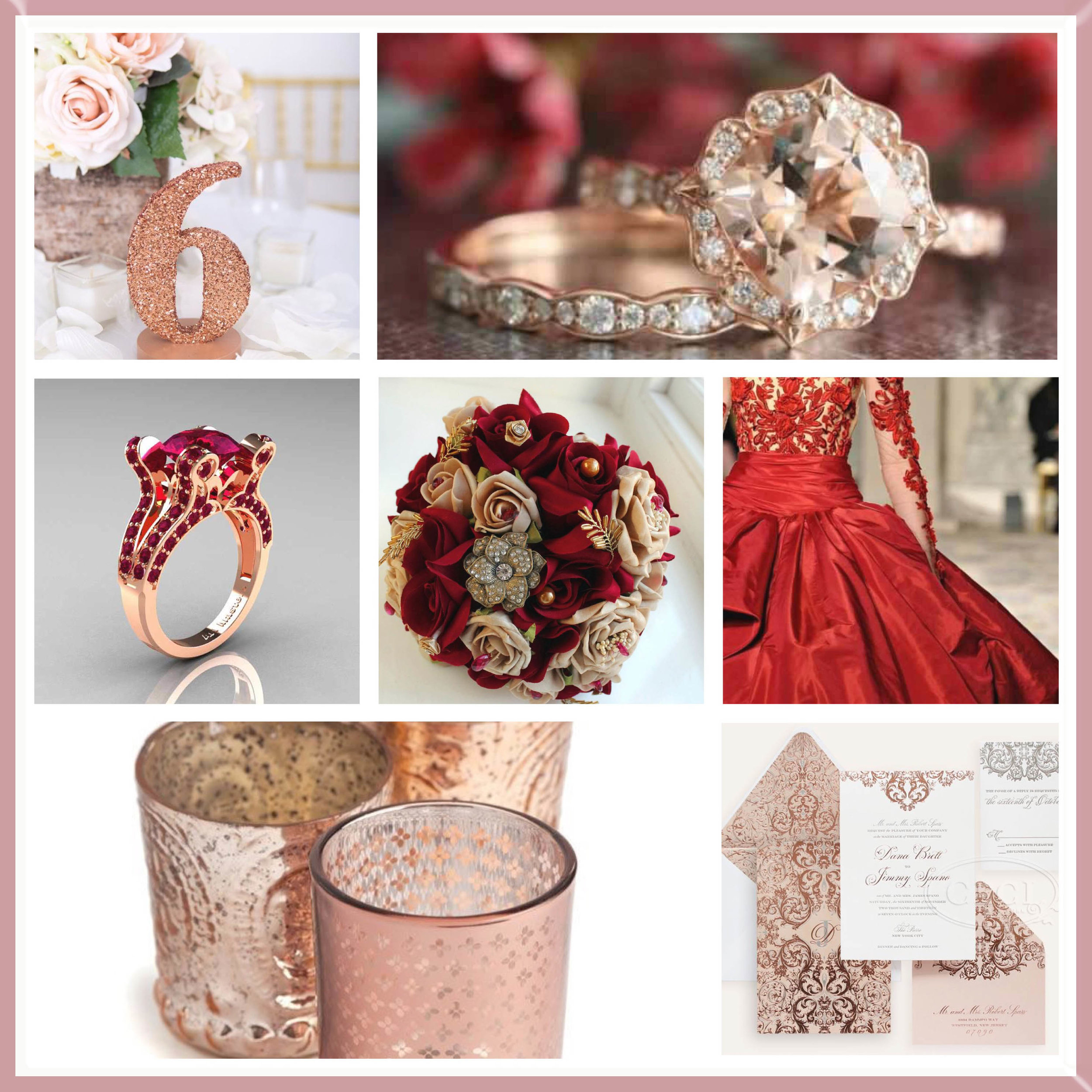 Cherry & Rose Gold moodboard designed by Luxe by Minihaha & co.