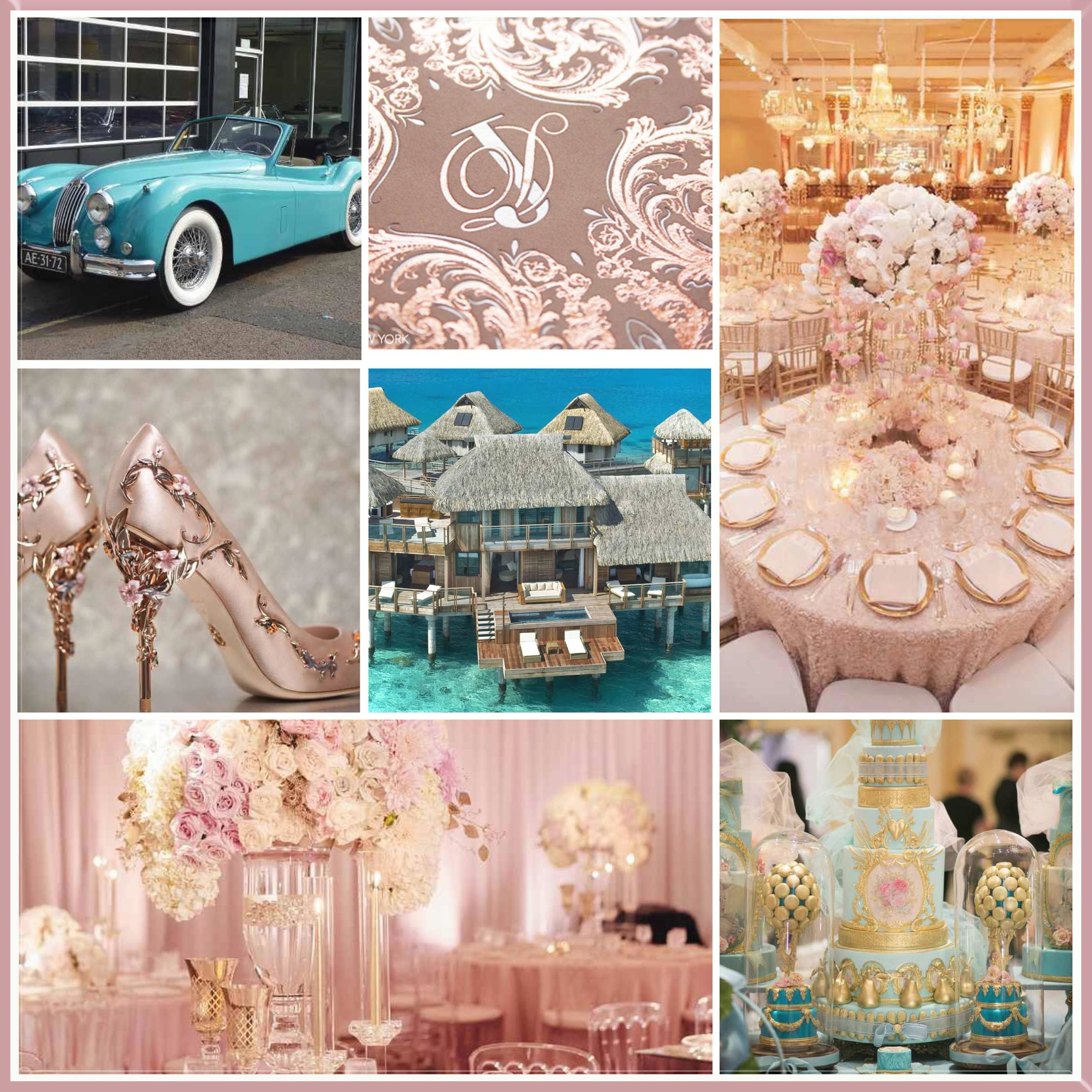 Aqua and Rose Gold moodboard designed by Luxe by Minihaha & co.