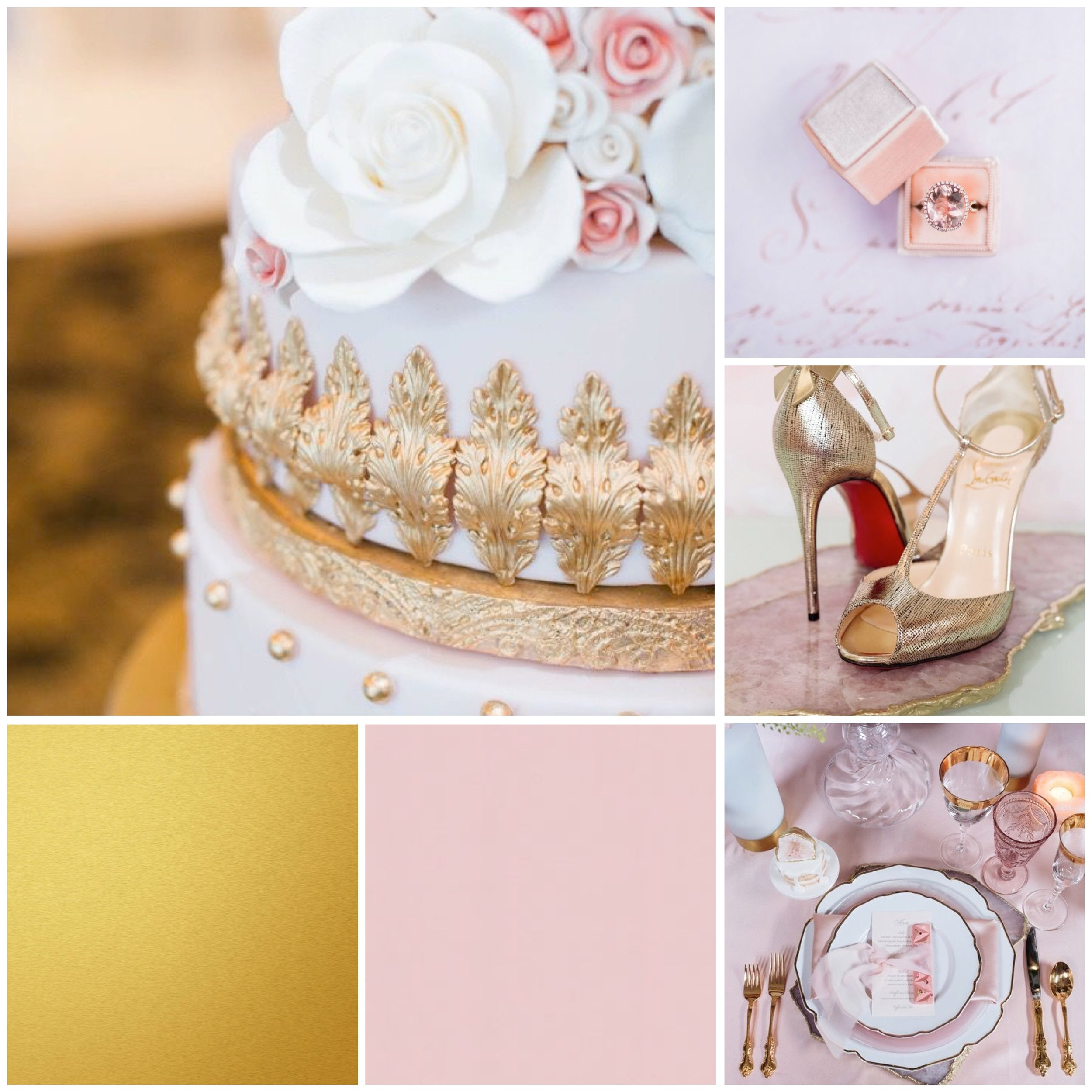 Pink & Gold mood board designed by Luxe by Minihaha & co.
