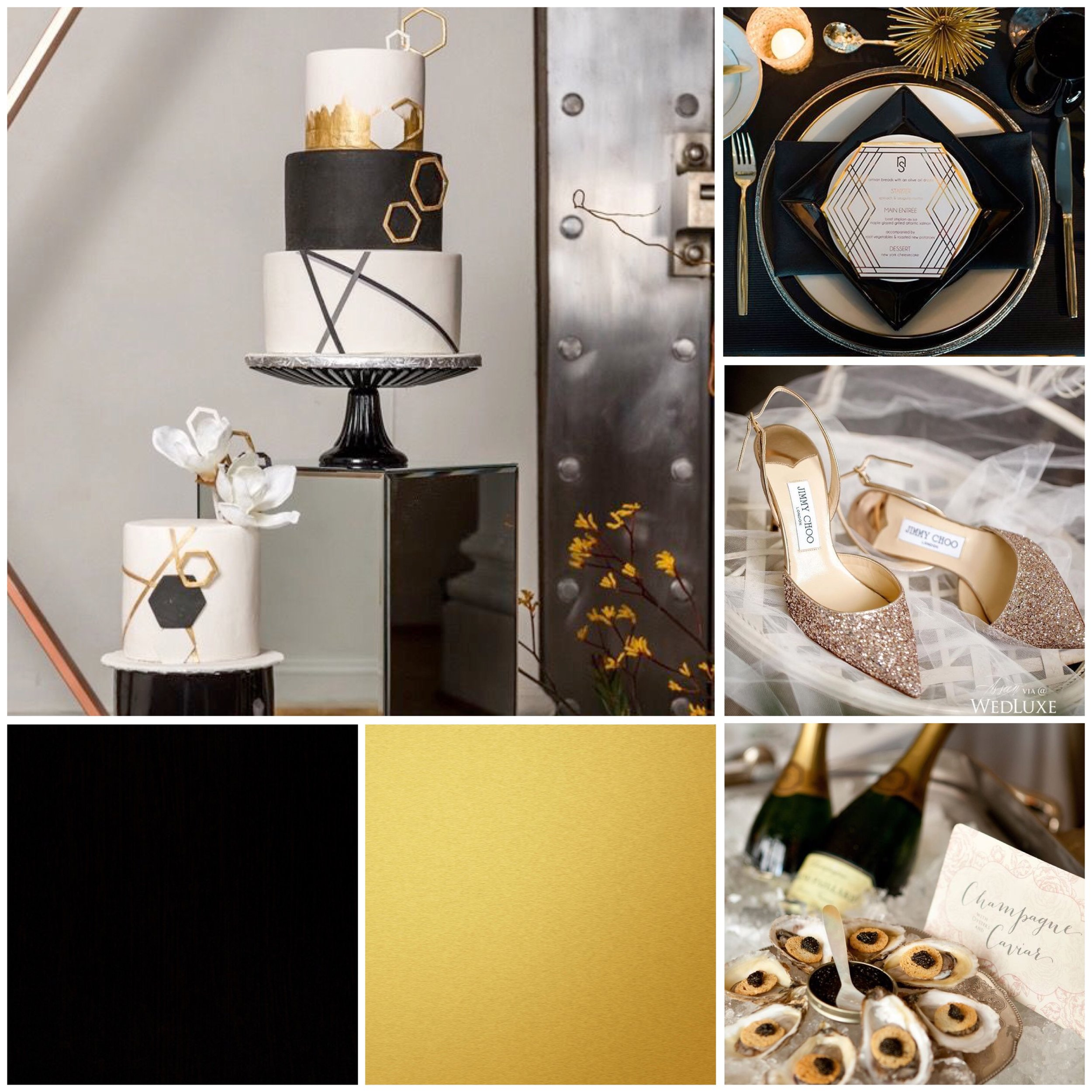 Black & Gold mood board designed by Luxe by Minihaha & co.