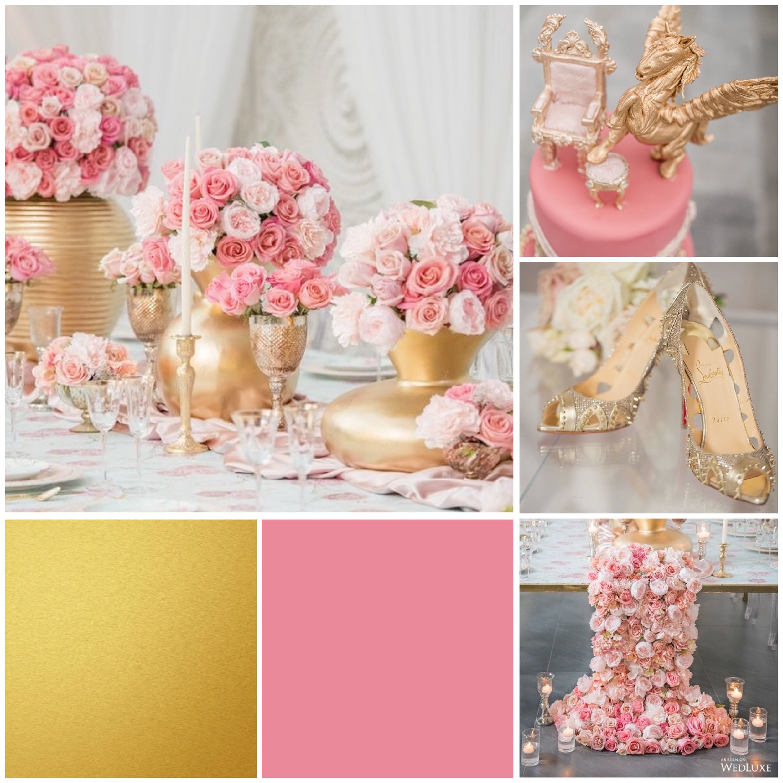 Strawberry Ice & Gold mood board designed by Luxe by Minihaha & co.