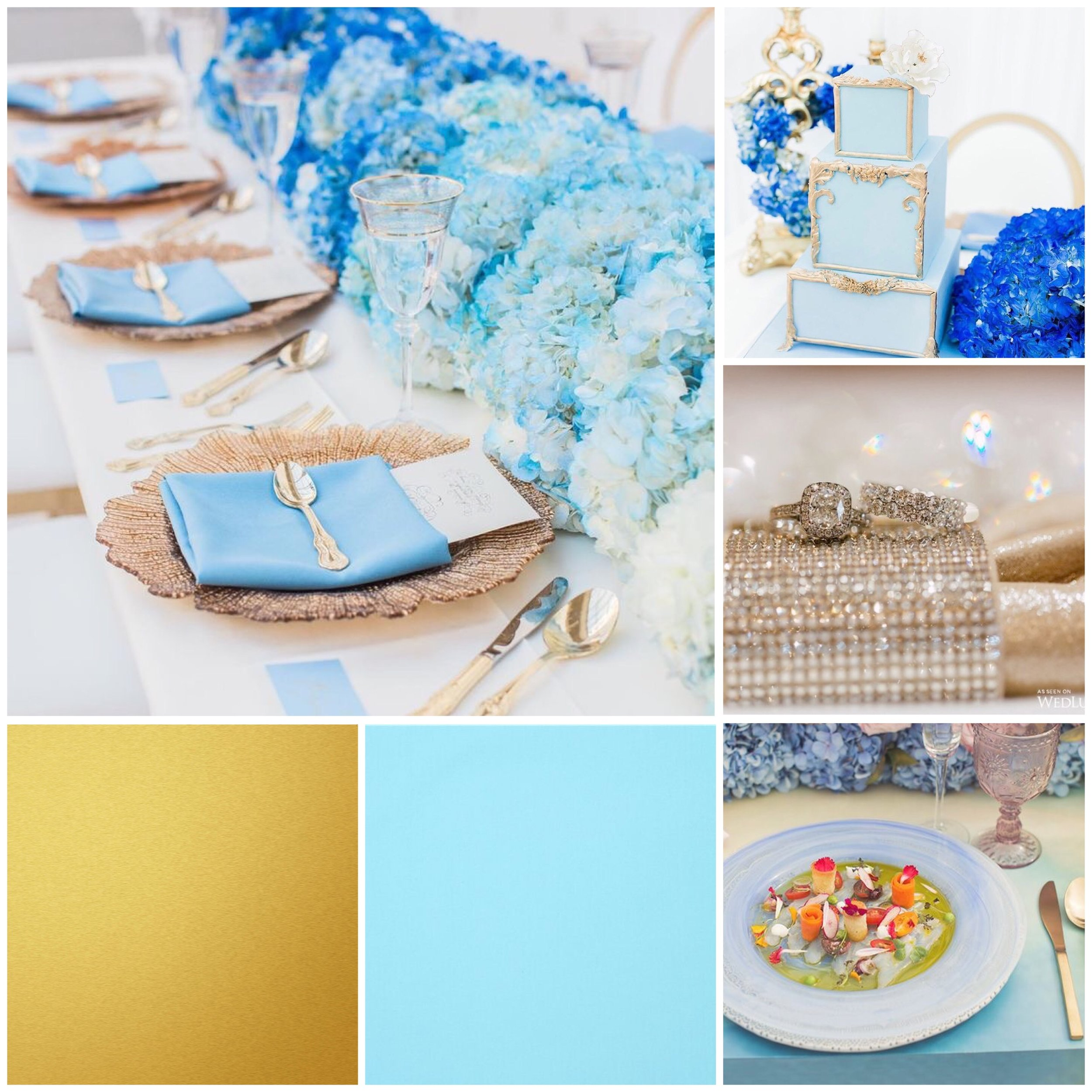 Bluebird Blue and Gold moodboard designed by Luxe by Minihaha & co.