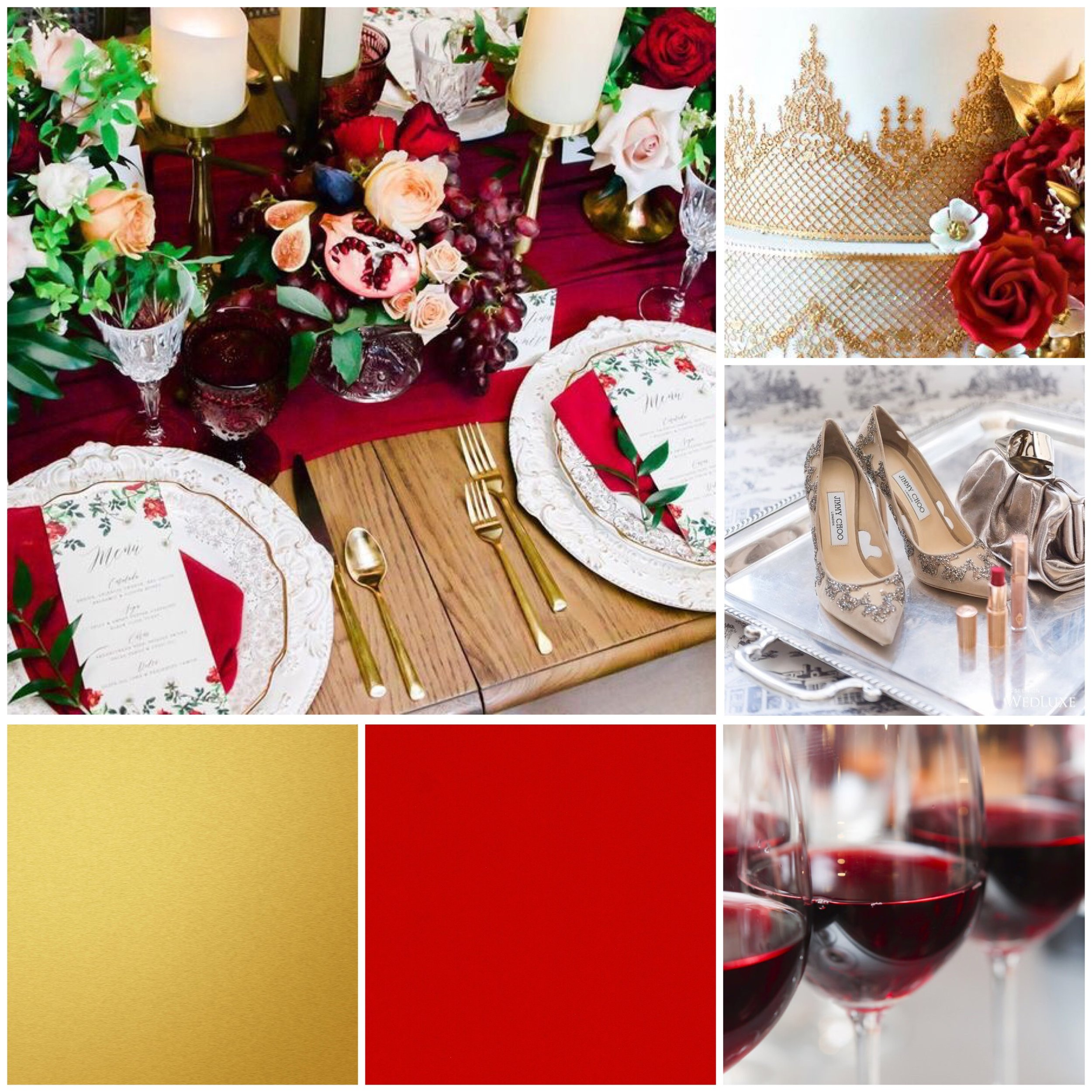 Strawberry Red & Gold wedding moodpboard designed by Luxe by Minihaha & co.