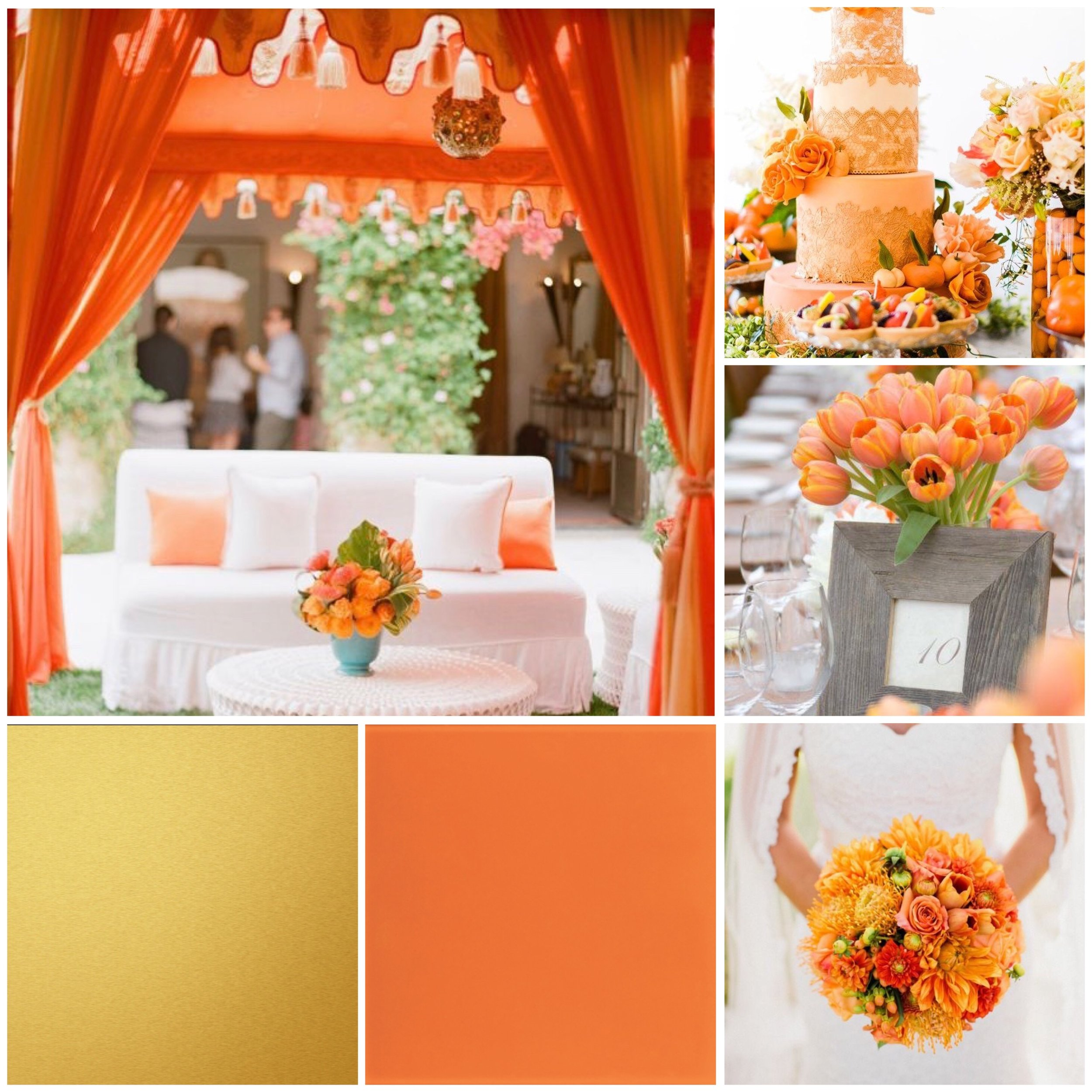 Tangerine & Gold moodboard for a wedding