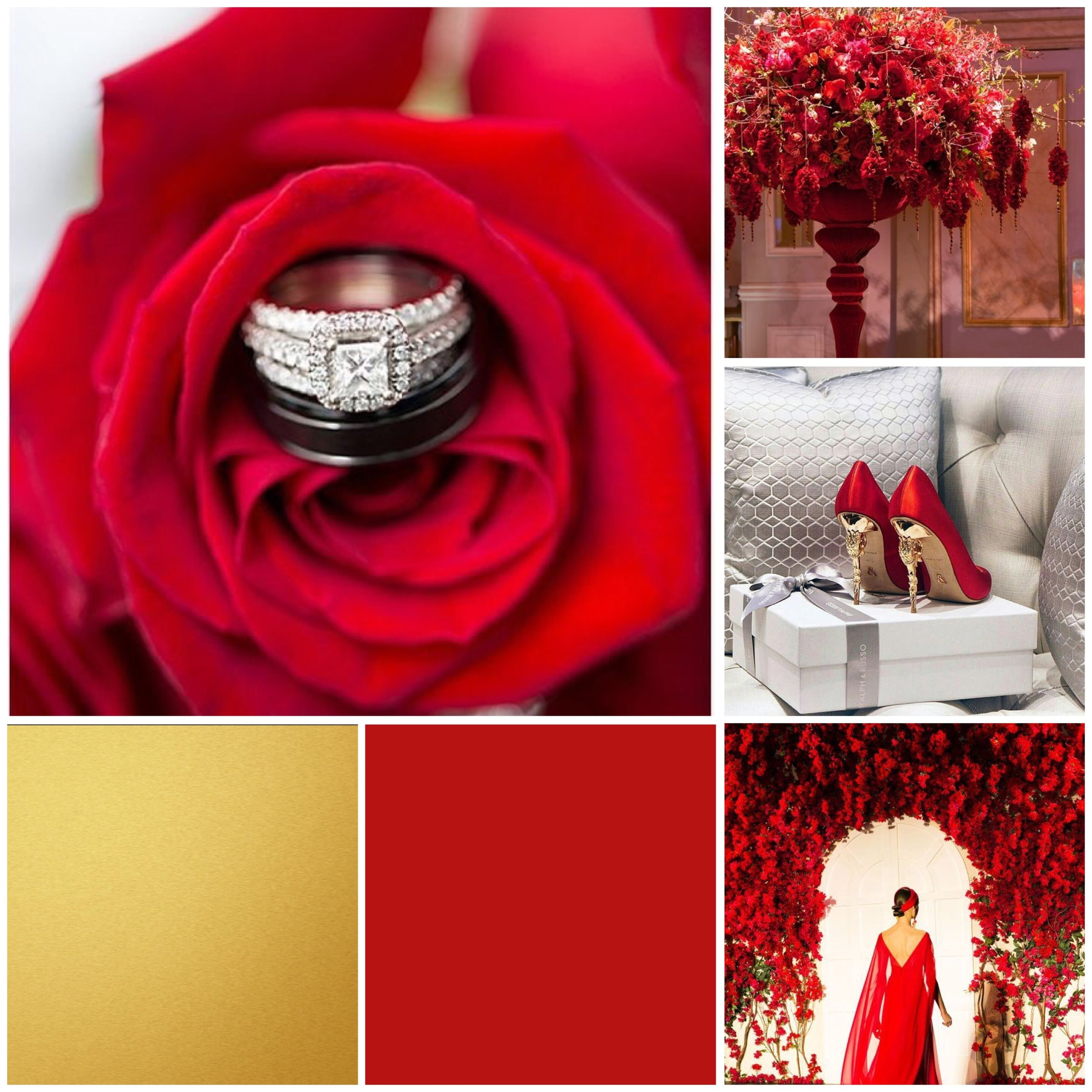 Crimson & Gold moodboard for a wedding