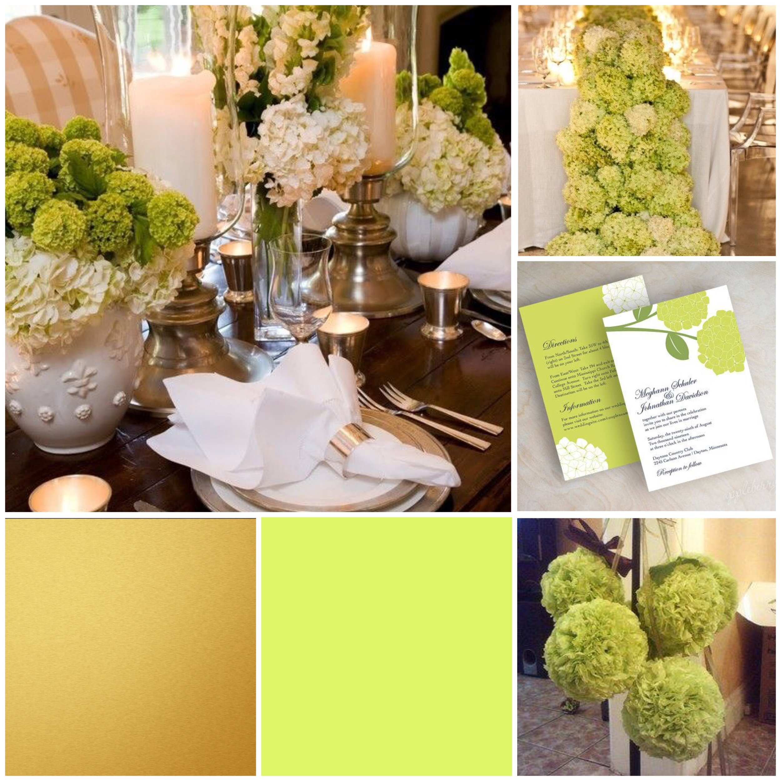 Bright Chartreuse & Gold moodboard for a wedding
