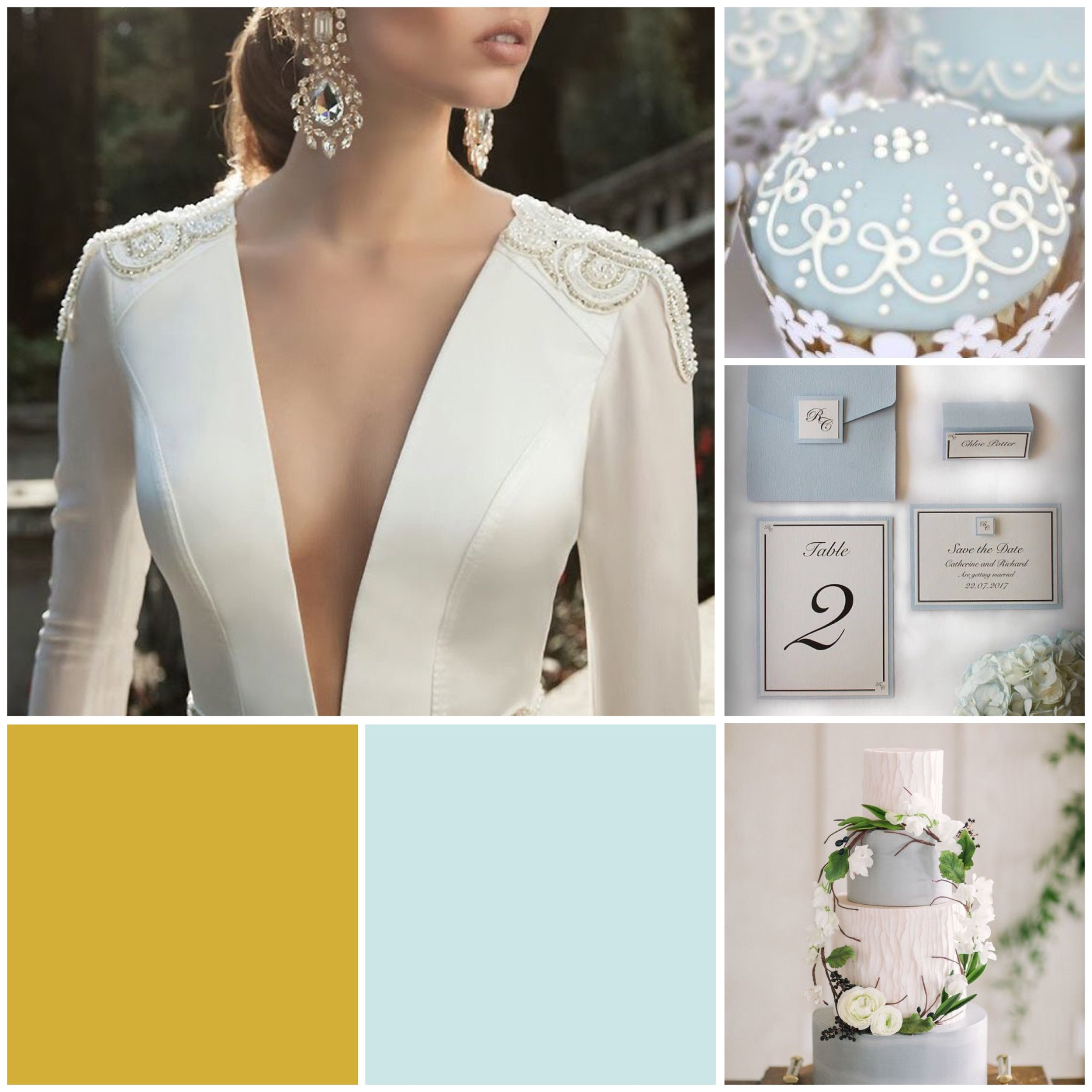 Frost & Gold moodboard for a wedding