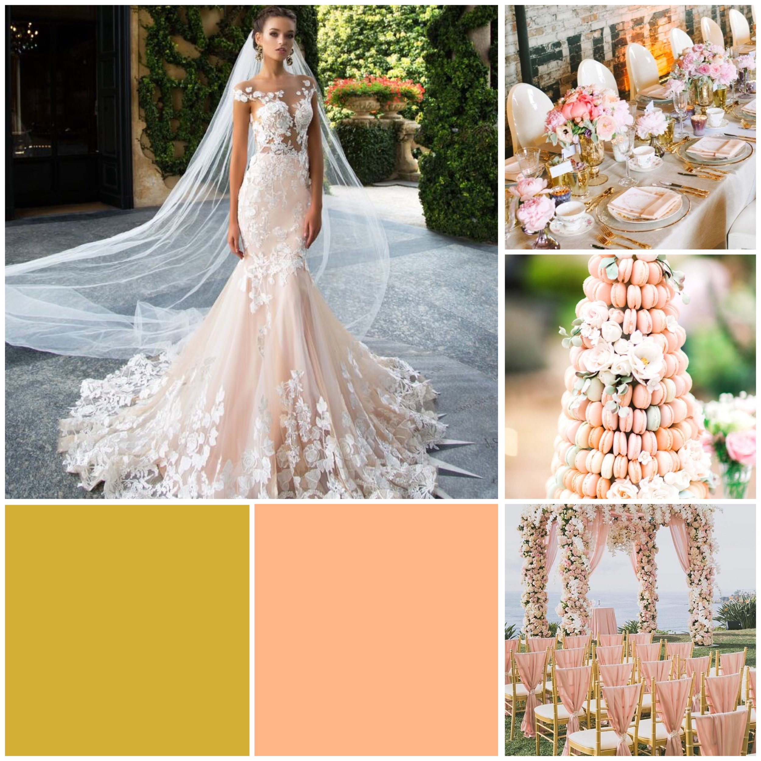 Cantaloupe & Gold moodboard for a wedding