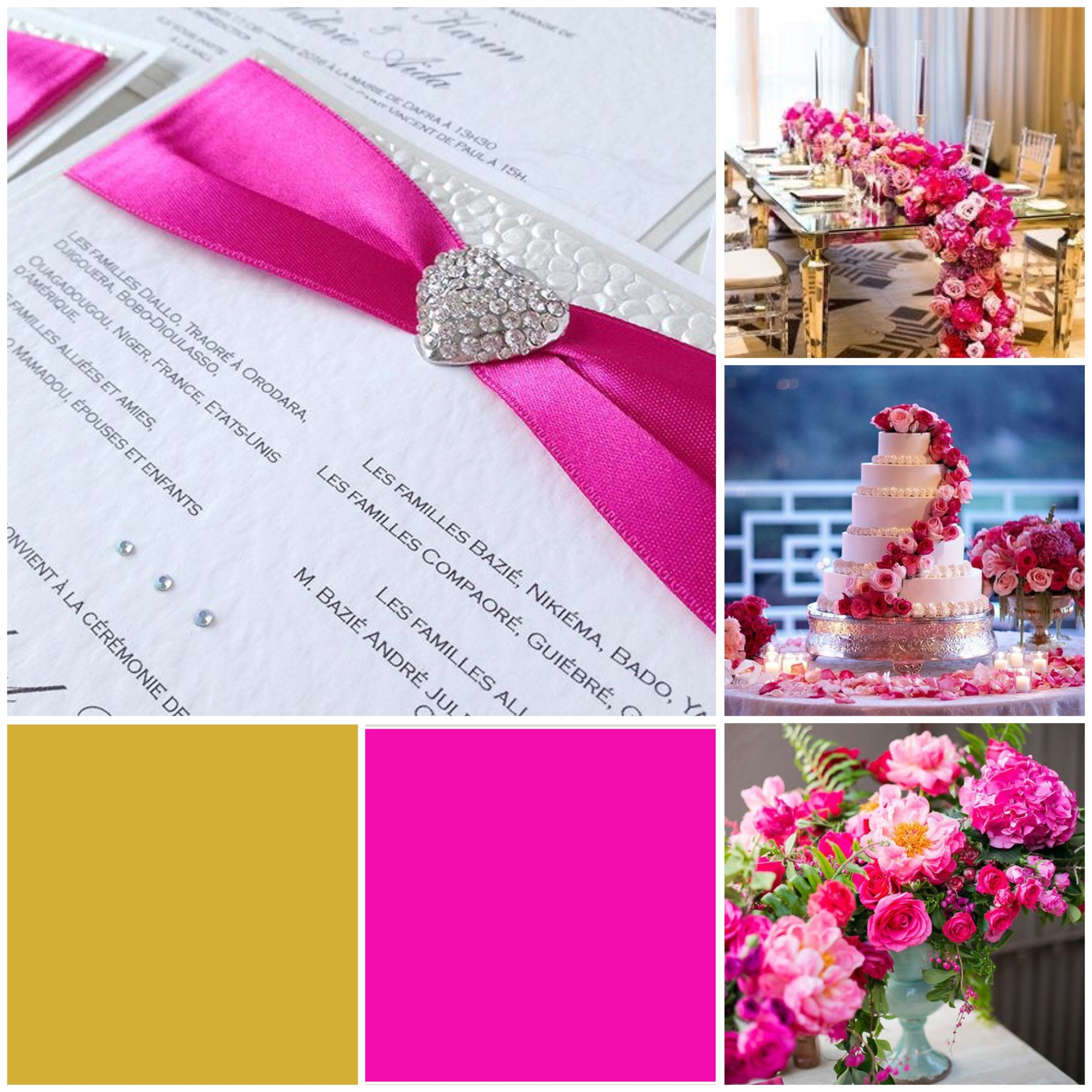 Shocking Pink & Gold moodboard for a wedding