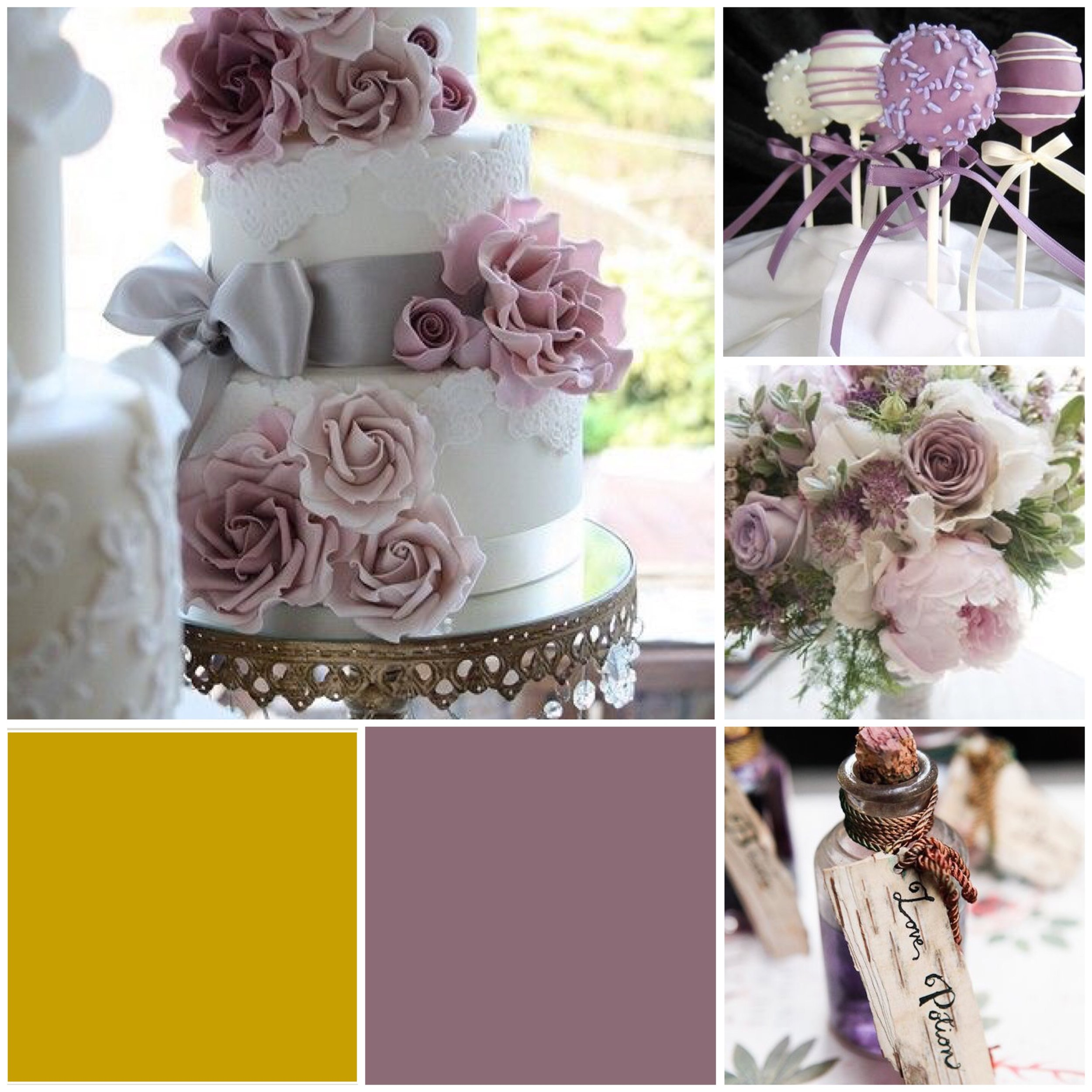 Grape Shake and Gold wedding moodboard