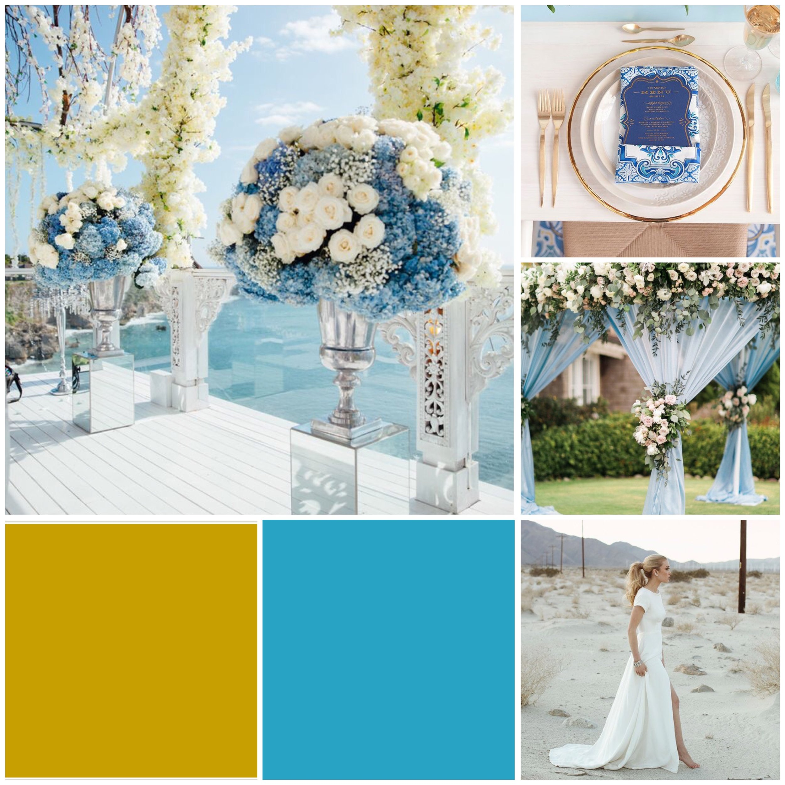 Horizon Blue & Gold Moodboard for your wedding inspiration.