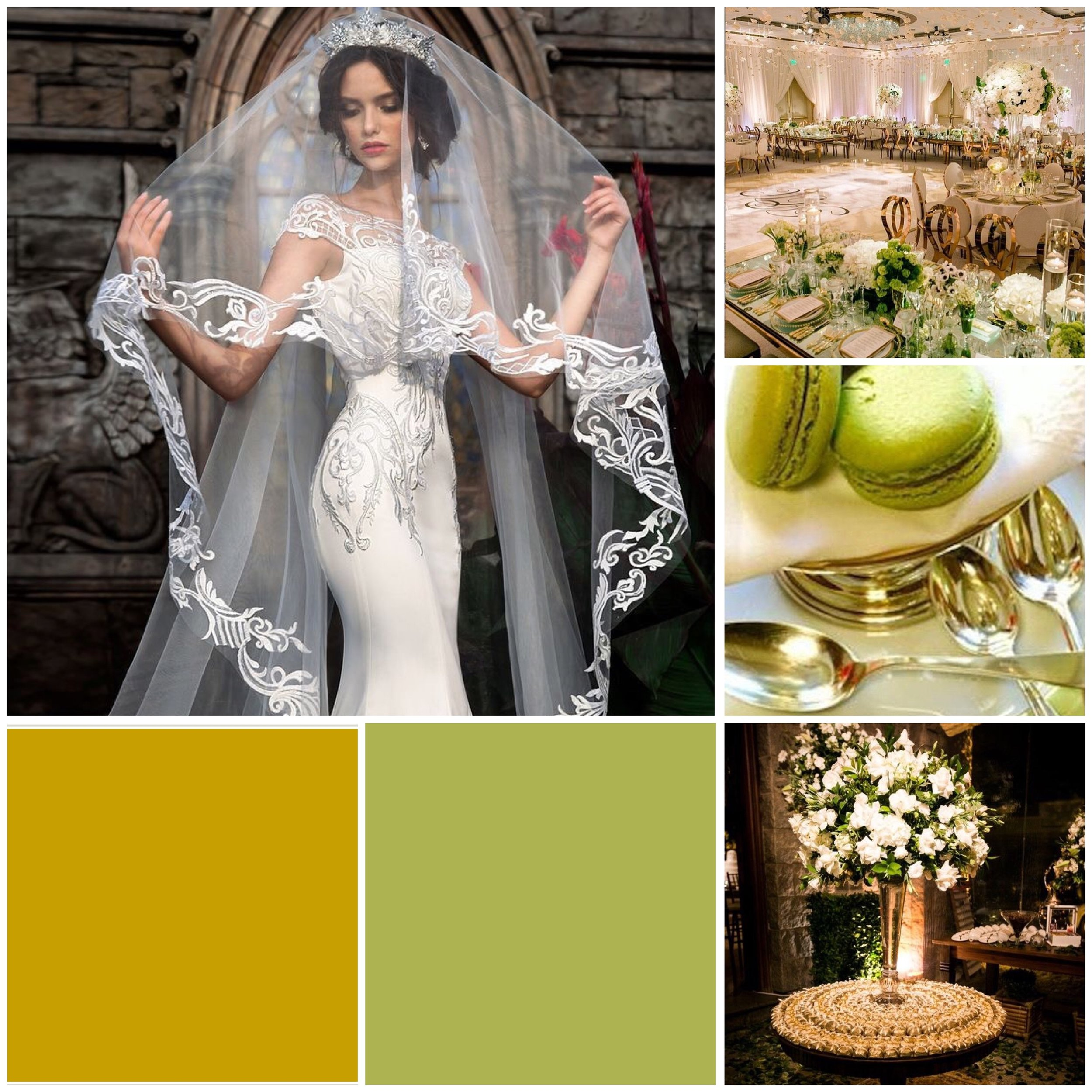 Green Oasis & Gold Moodboard for your wedding inspiration.