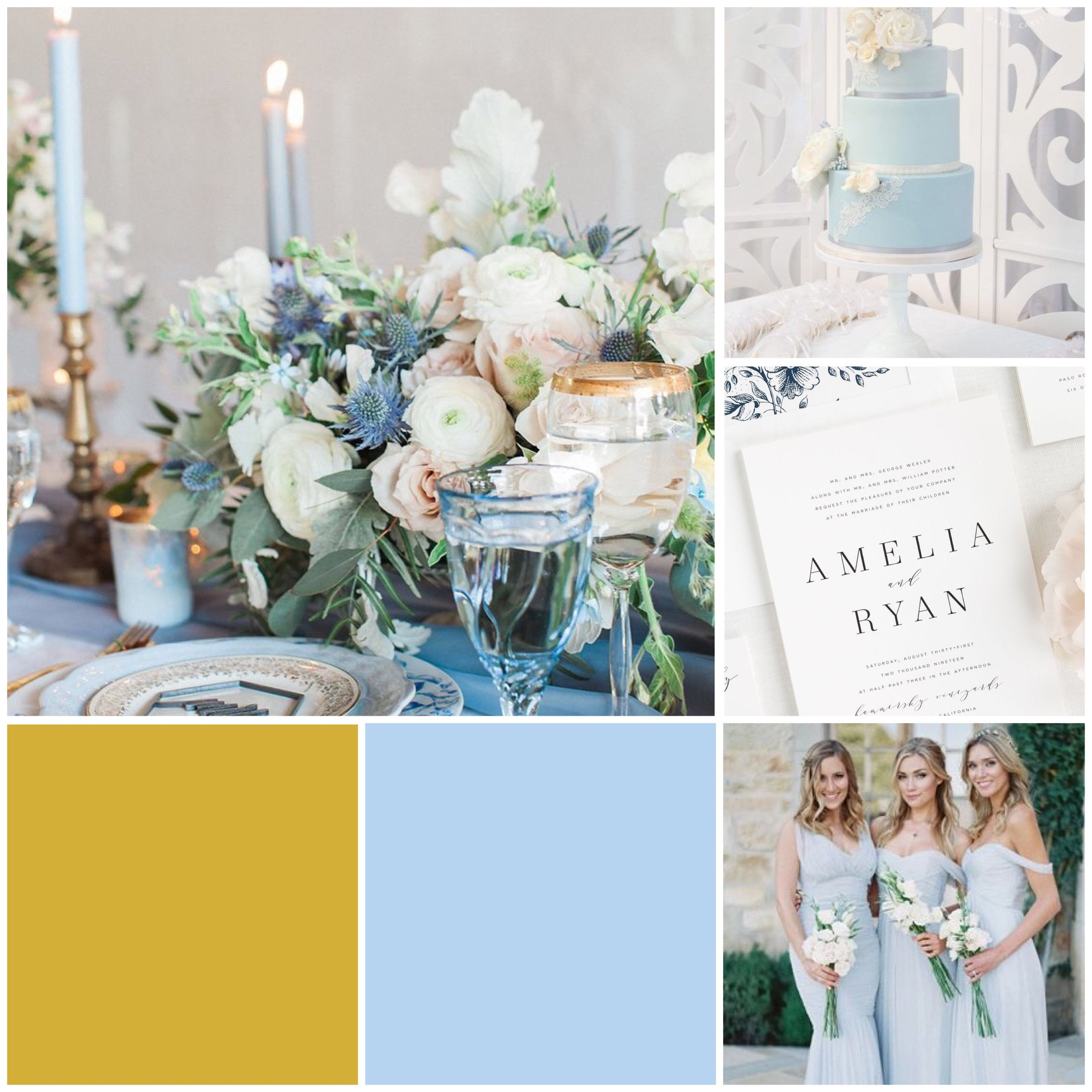 Capri & Gold Moodboard for your wedding inspiration.