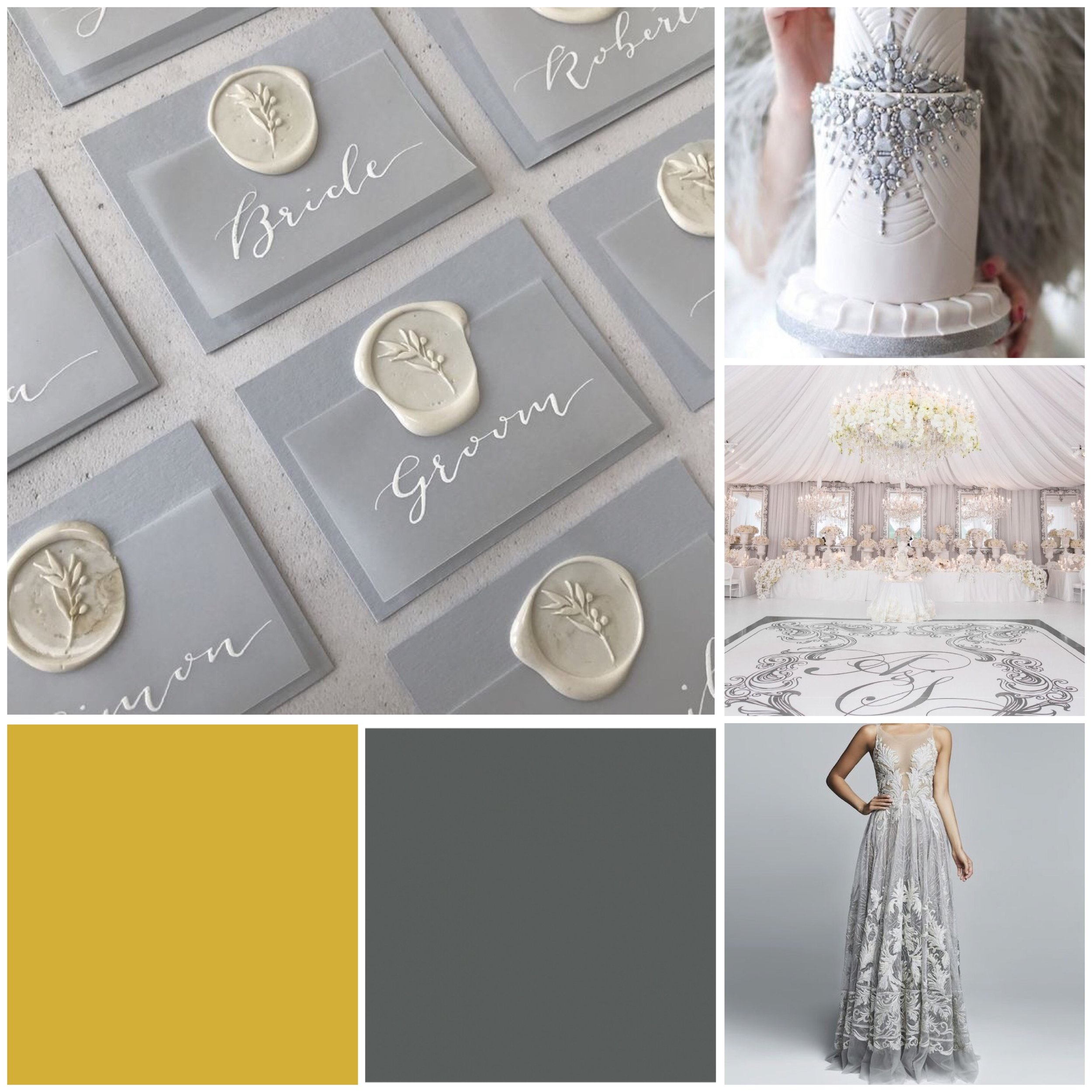 Mercury & Gold Moodboard for your wedding inspiration.