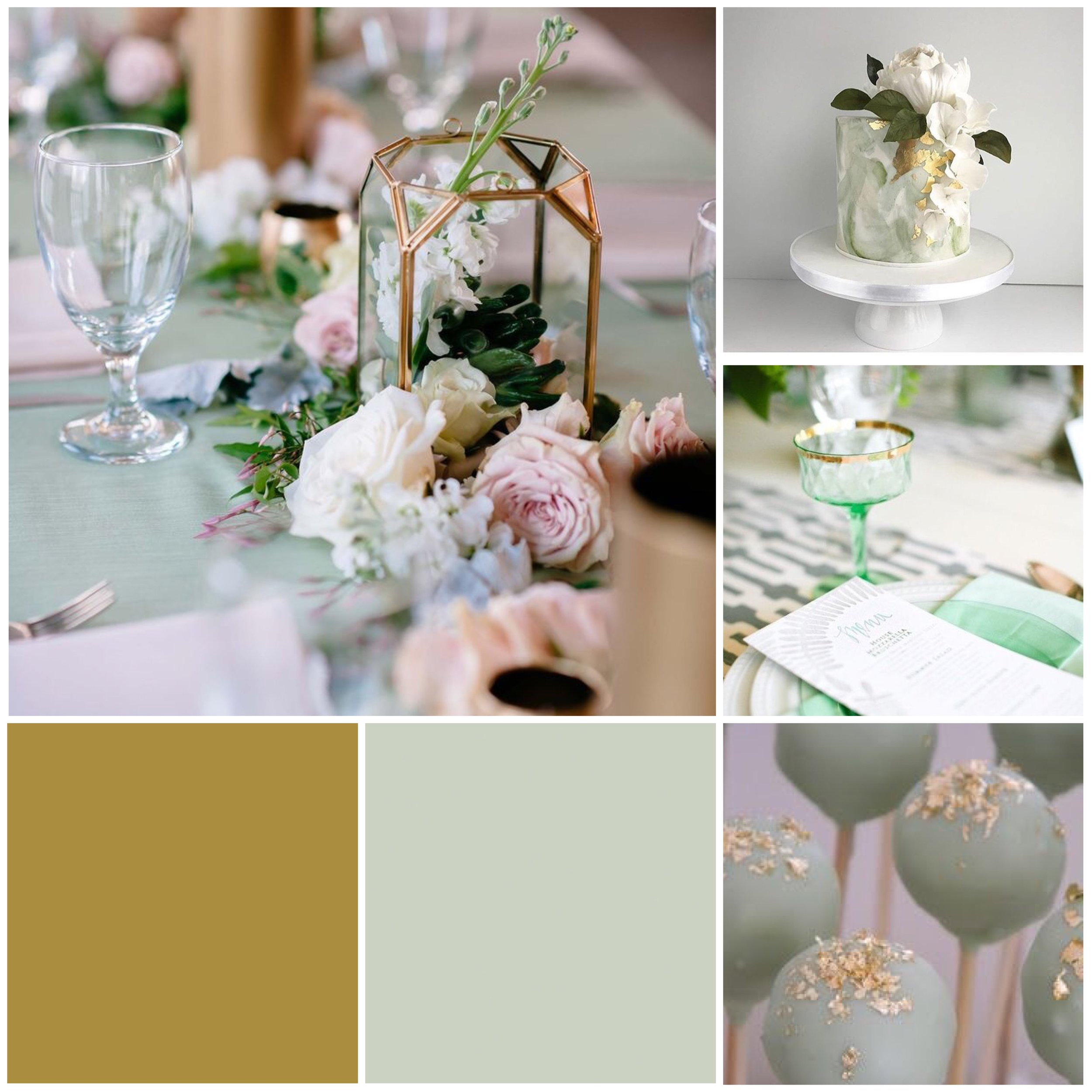 Pistachio & Gold Moodboard for your wedding inspiration.