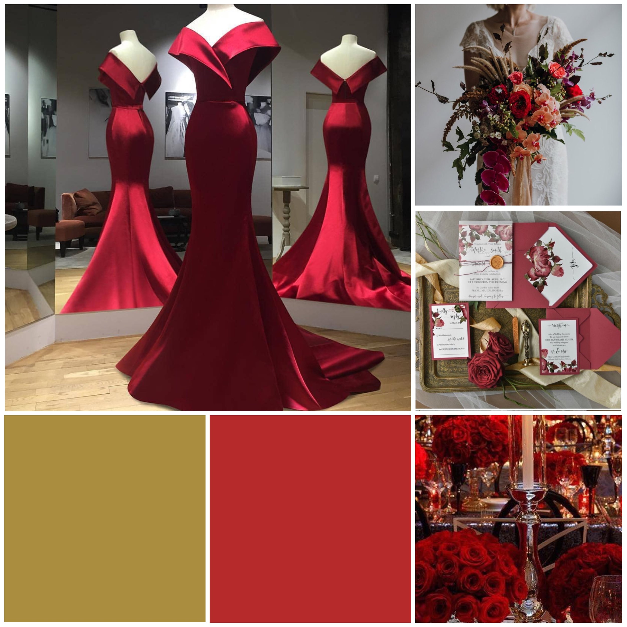 Poppy Red & Gold Moodboard for your wedding inspiration.