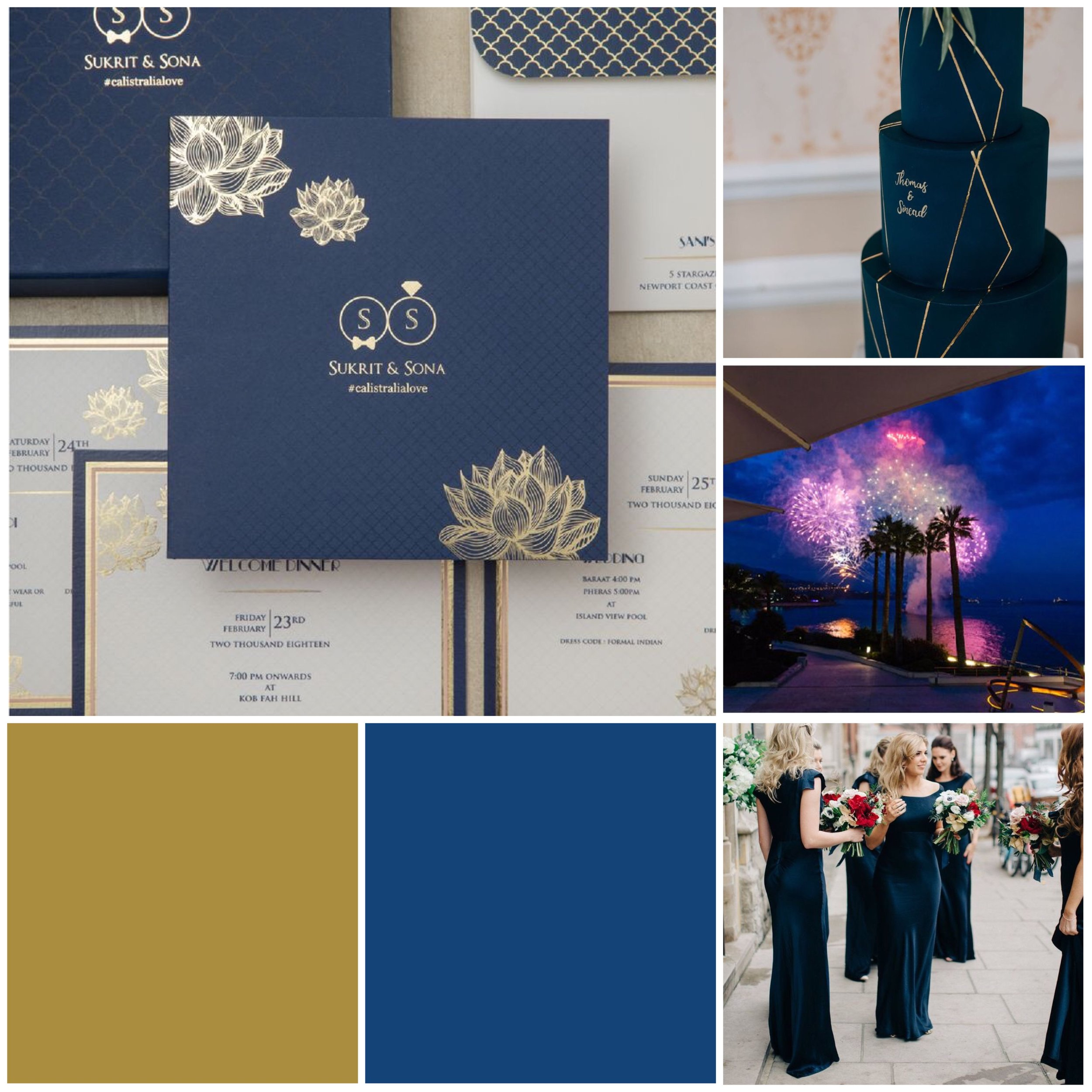 Monaco Blue & Gold Moodboard for your wedding inspiration.
