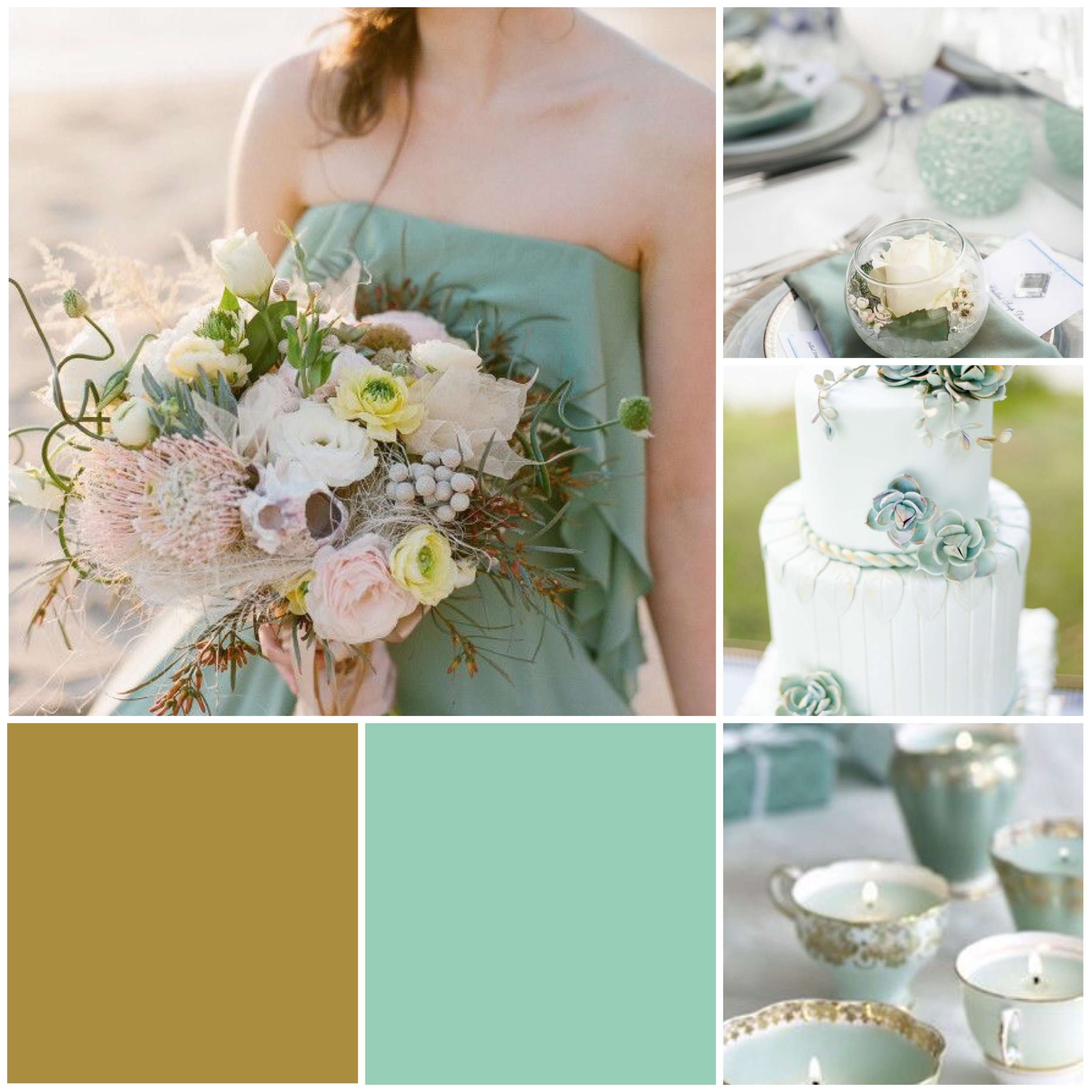 Grayed Jade & Gold Moodboard for your wedding inspiration.
