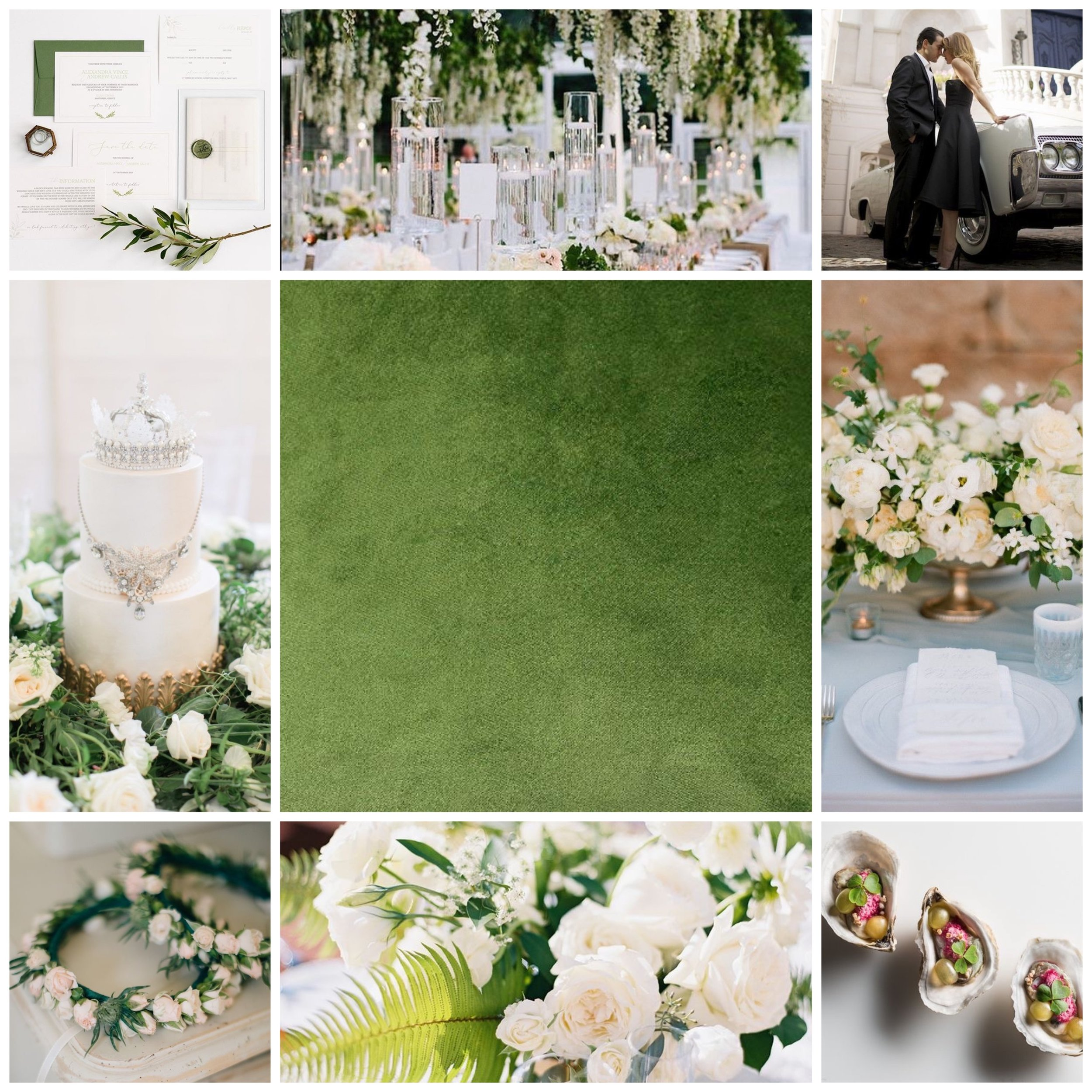 Green and White moodboard