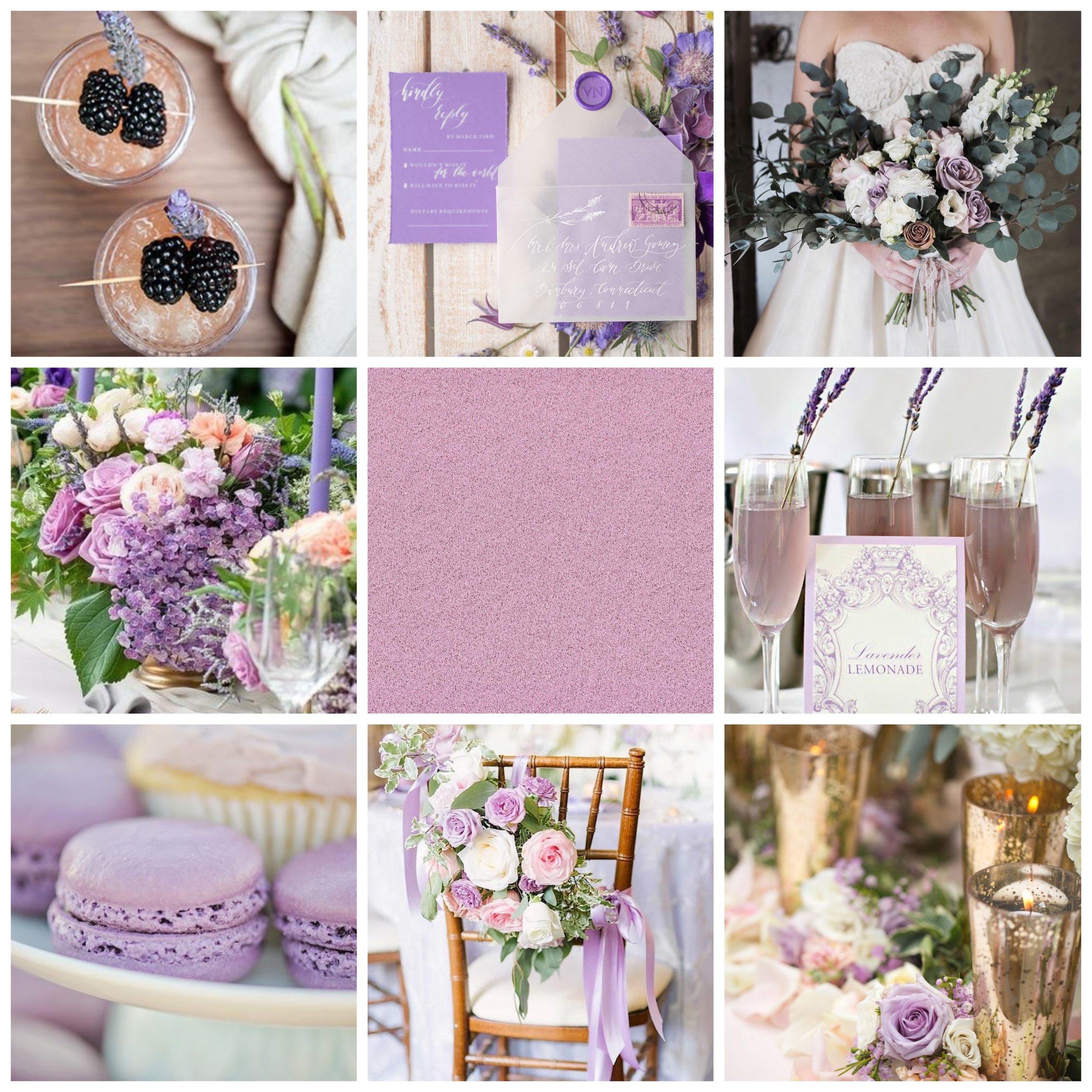 Lilac wedding moodboard.