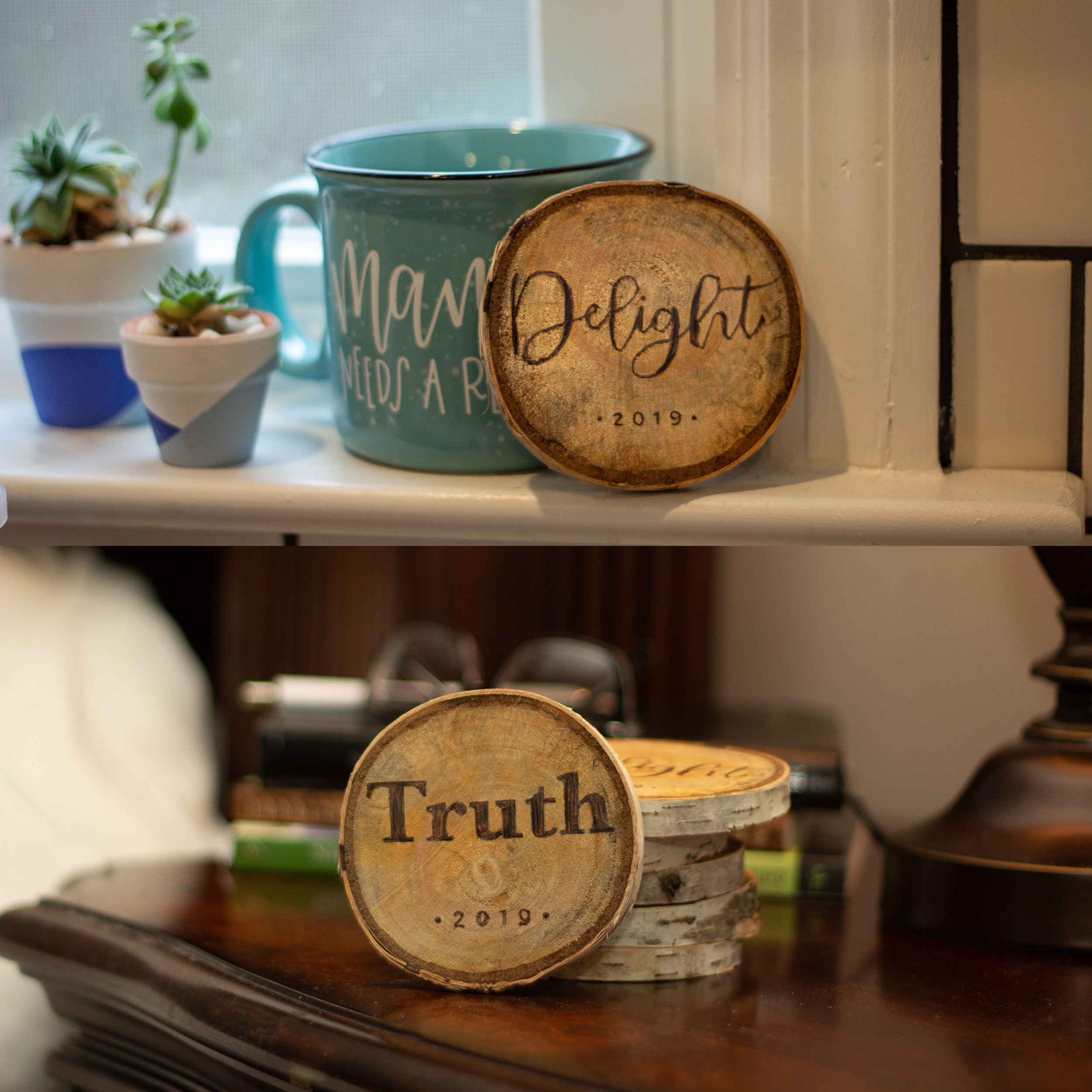 Hand-crafted wood-burned inspirational round to keep you on track for 2019. Achieve your New Years resolutions with this cute daily reminder!