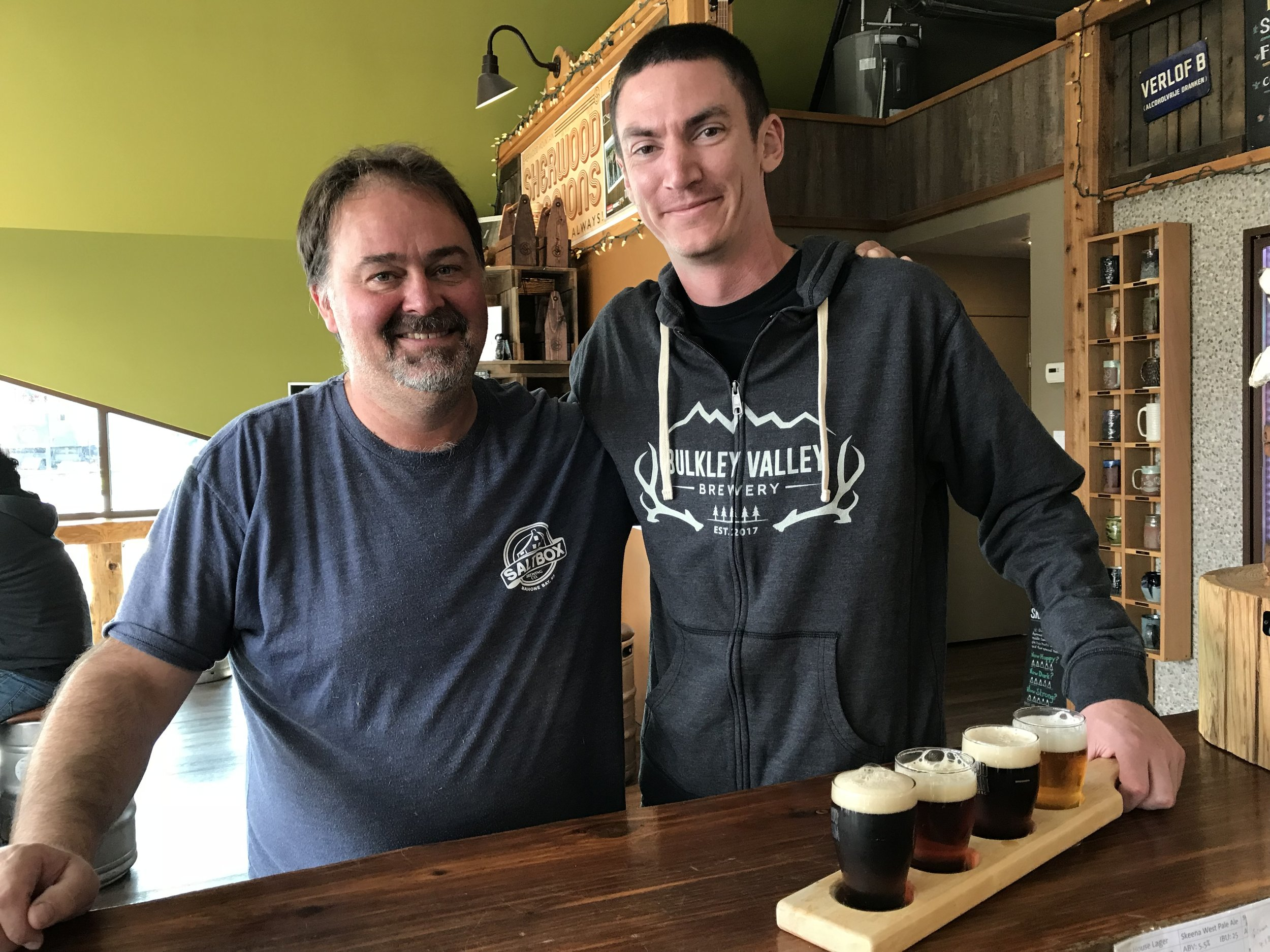 Darryl and Aaron in the tasting room at Sherwood Mountain Brewhouse.