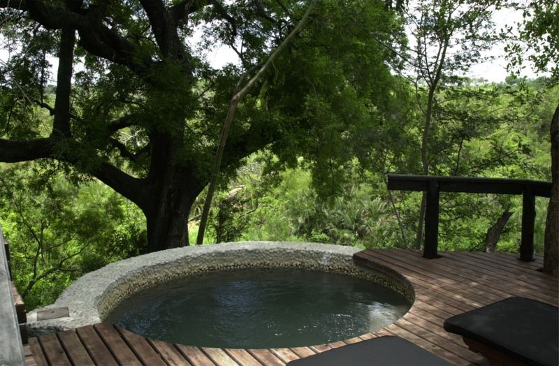 Our deck with private hot tub and view.